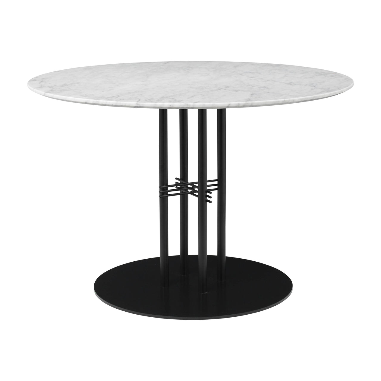 TS Column Dining Table: Medium + Black Base + White Carrara Marble