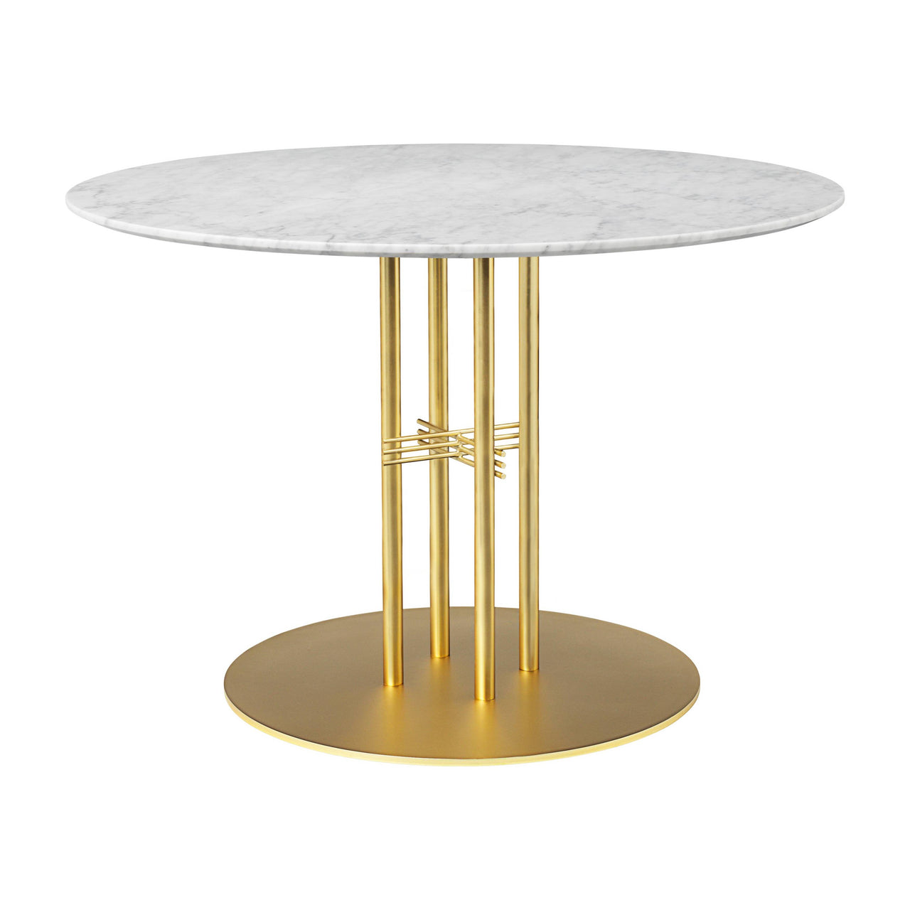 TS Column Dining Table: Medium + Brass Base + White Carrara Marble