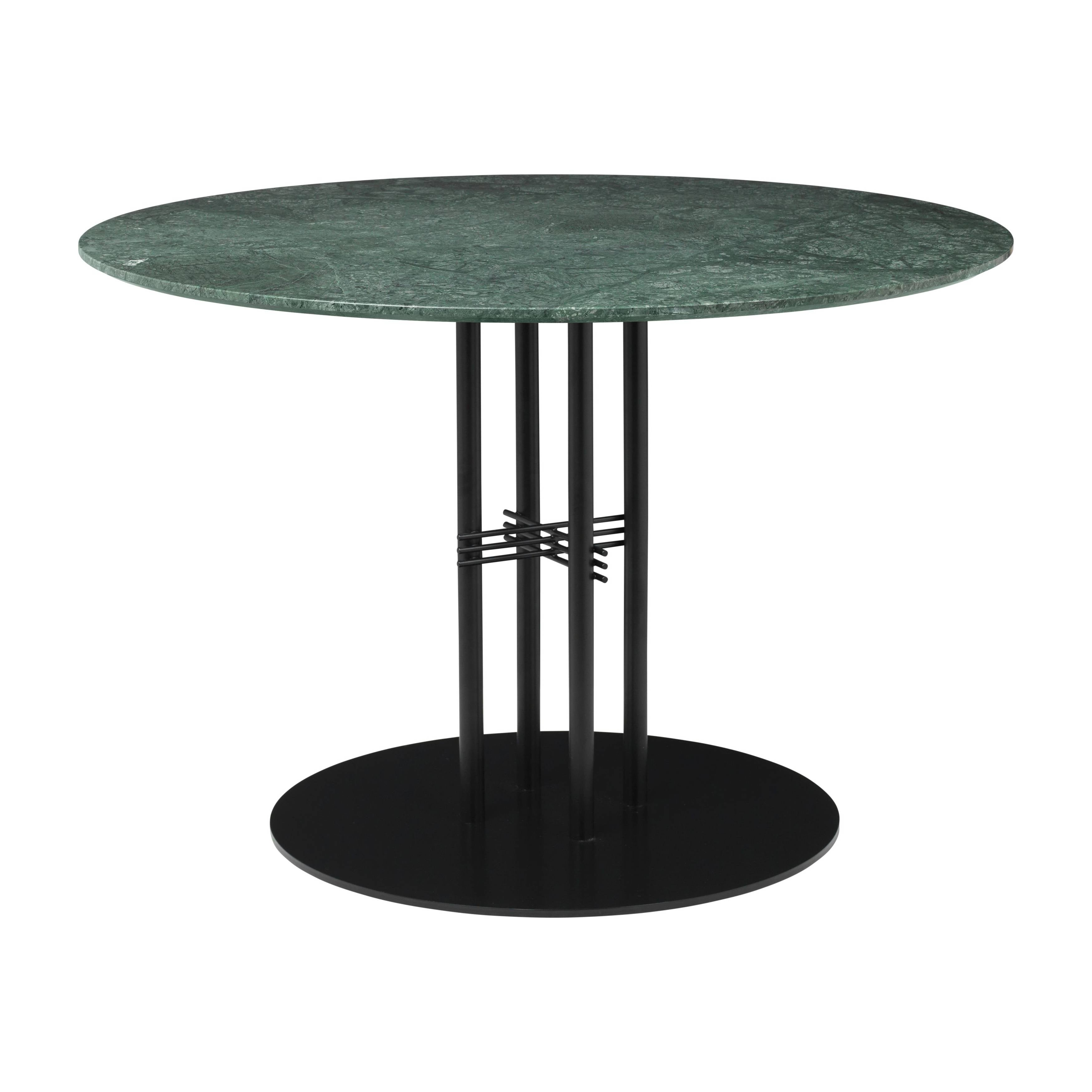 TS Column Dining Table: Medium + Black Base + Green Emperador Marble