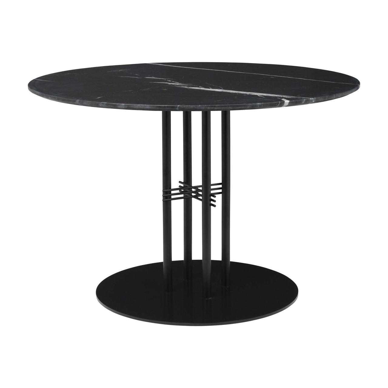 TS Column Dining Table: Medium + Black Base + Black Marquina Marble