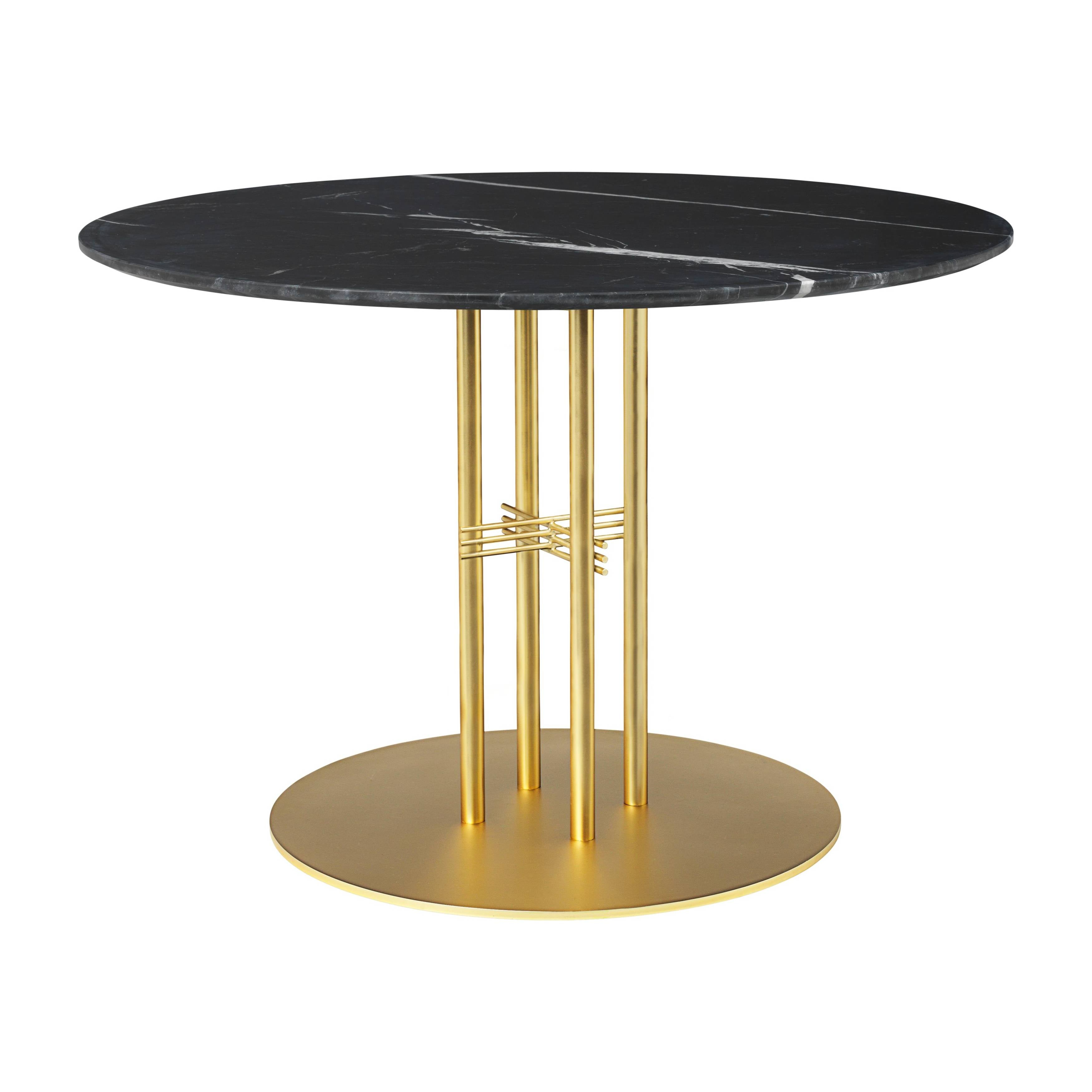 TS Column Dining Table: Medium + Brass Base + Black Marquina Marble