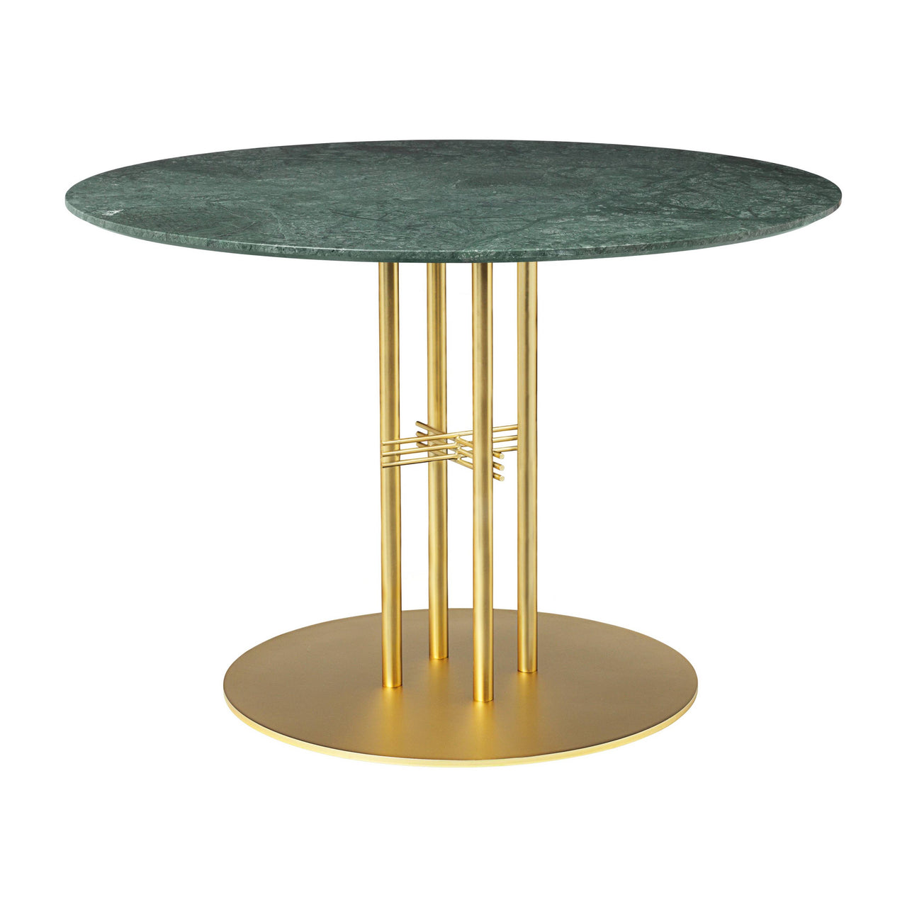 TS Column Dining Table: Medium + Brass Base + Green Gautemala Marble