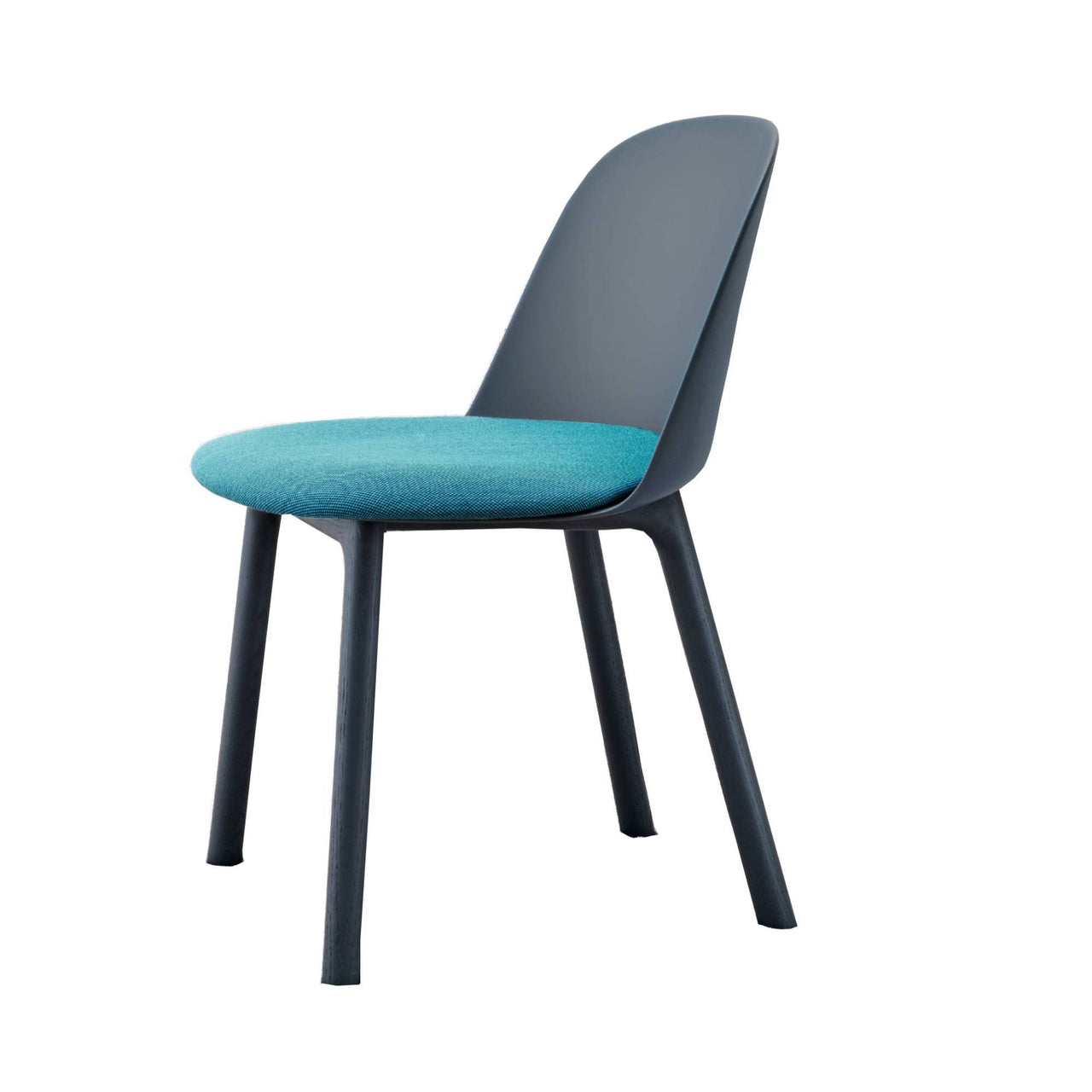 Mariolina Side Chair: Wood Base + Upholstery + Intense Blue Shell