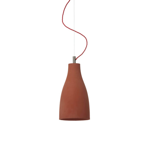 Heavy Pendant Light Tall: Light Brown + Red