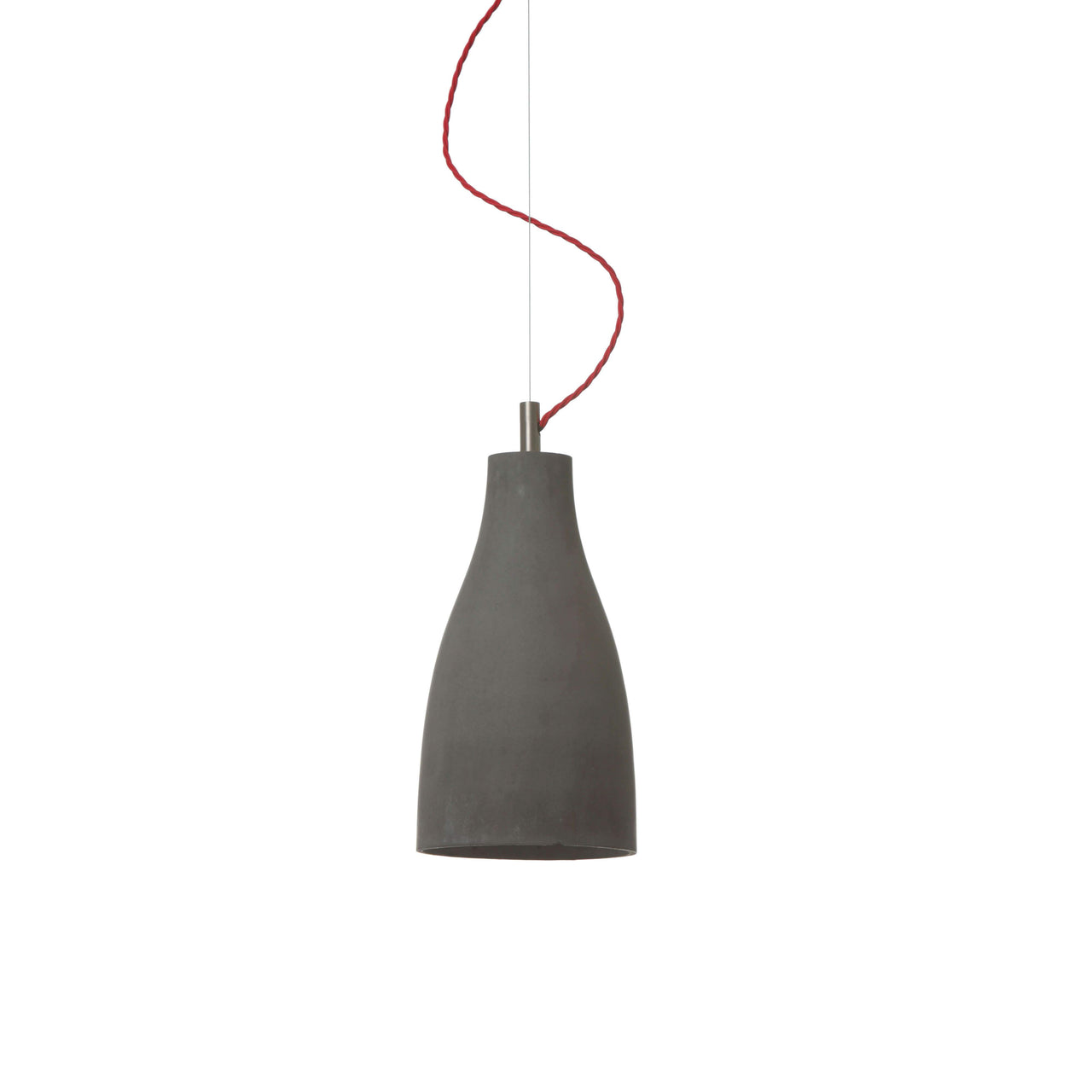 Heavy Pendant Light Tall: Dark Grey + Red