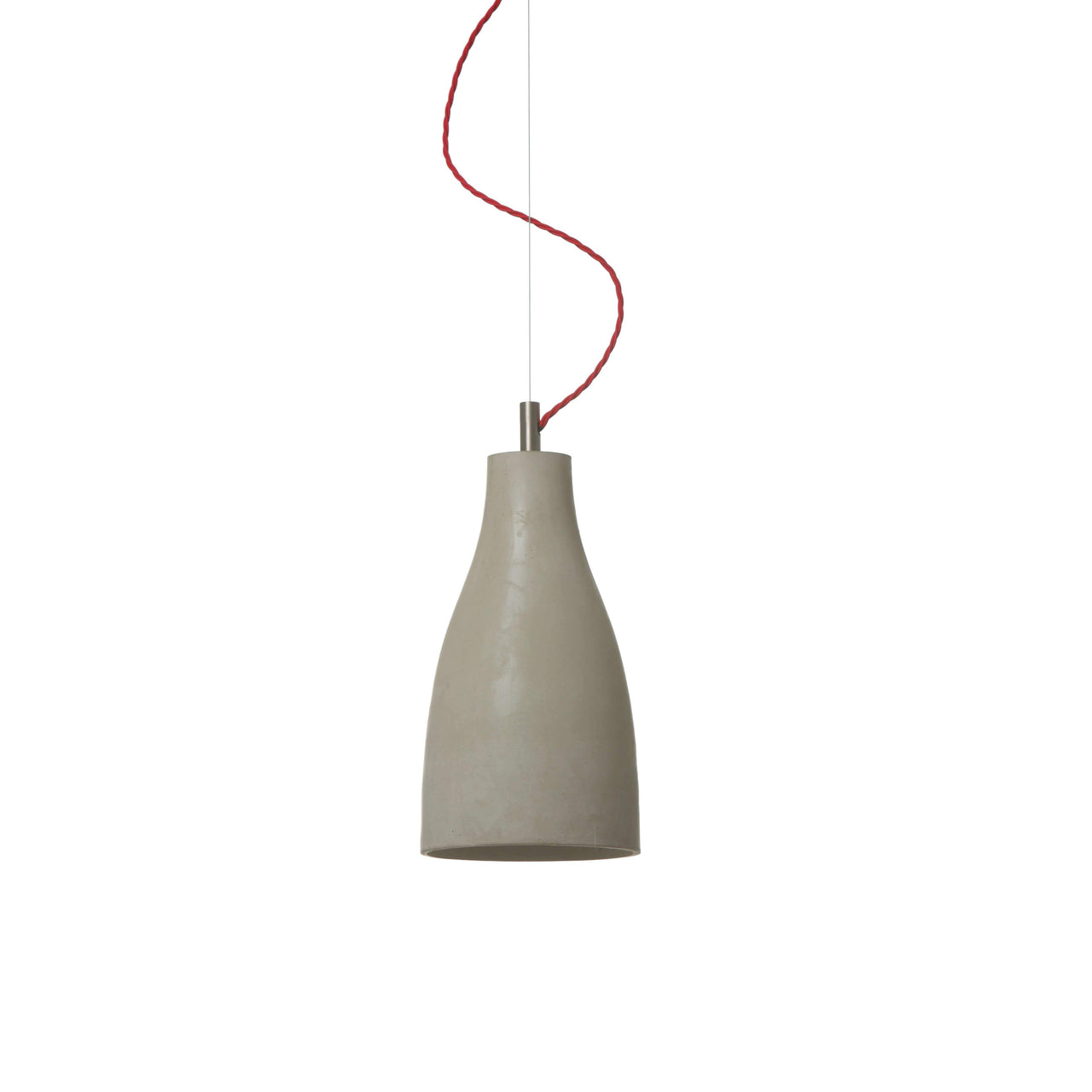 Heavy Pendant Light Tall: Light Grey + Red