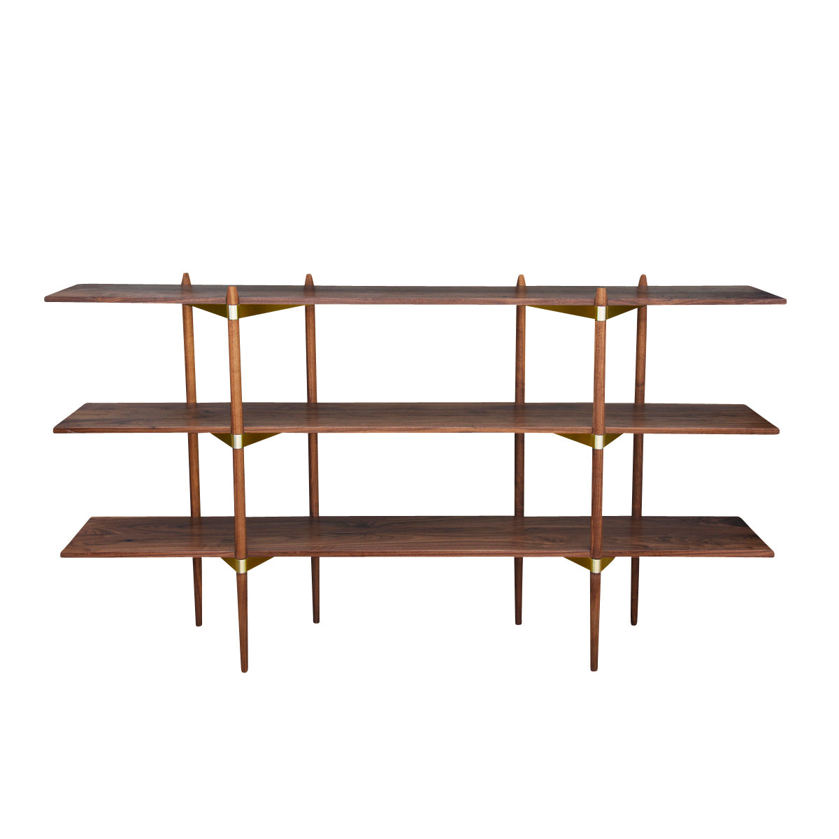 Primo Shelving System: Low + Walnut + Brass