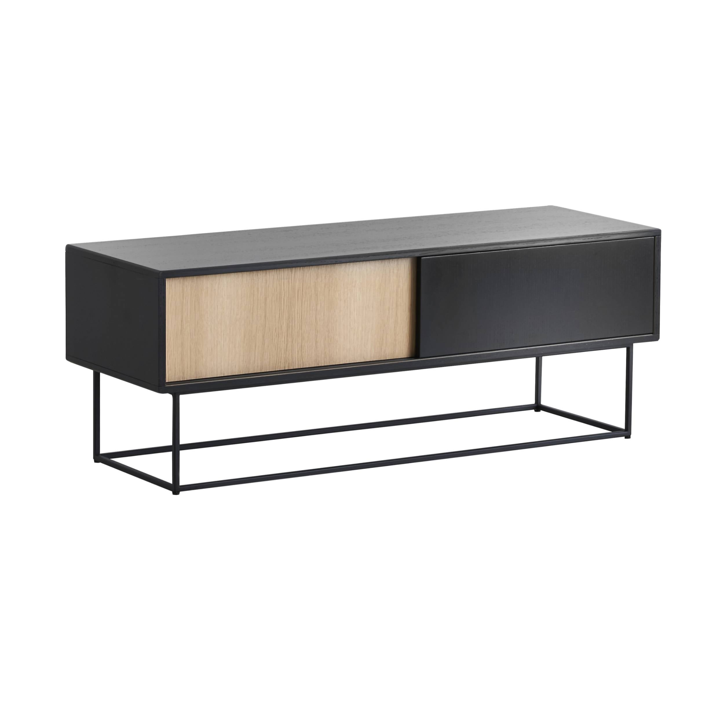Virka Low Sideboard: Black + White Oiled Oak Drawers