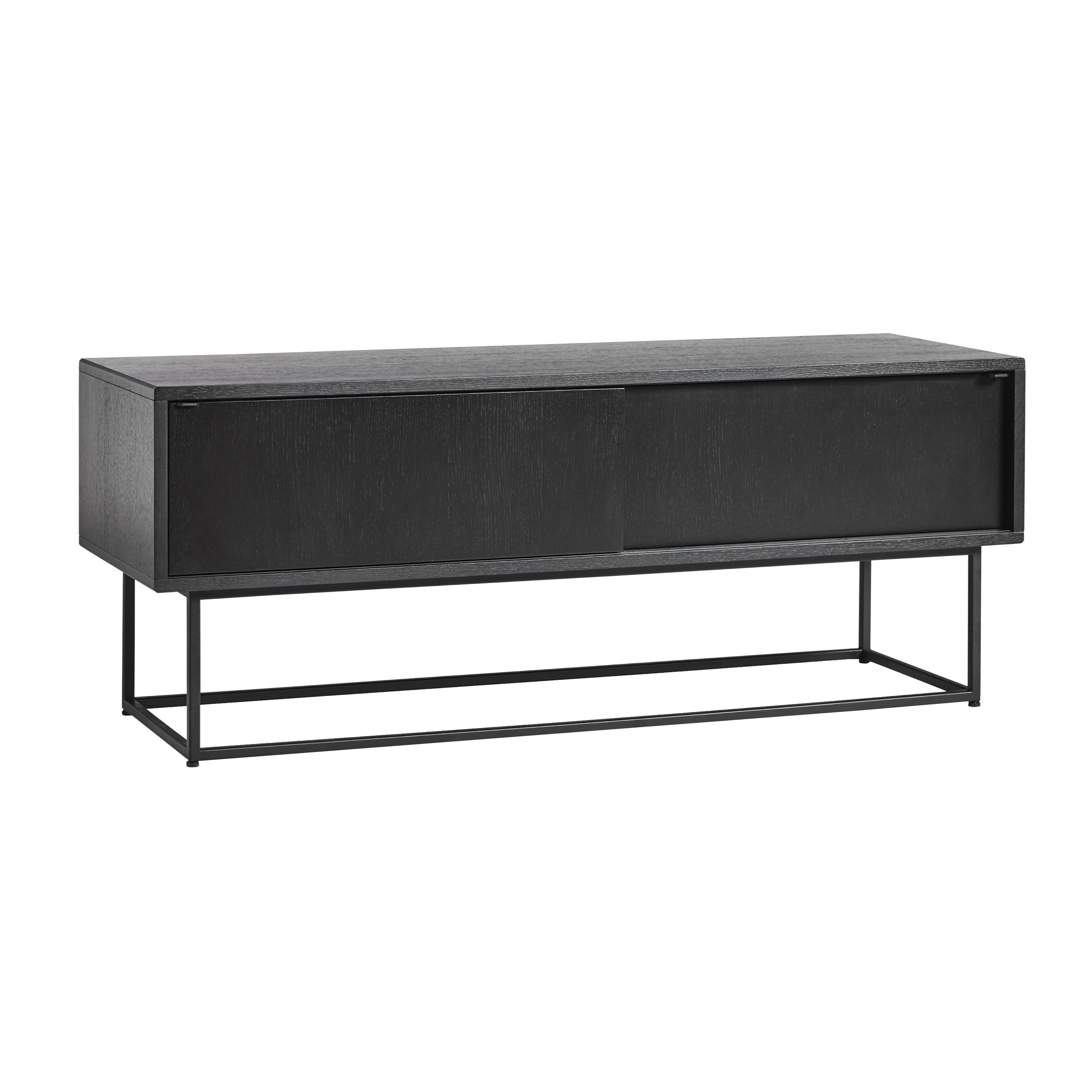 Virka Low Sideboard: Black + Black Oiled Oak Drawers