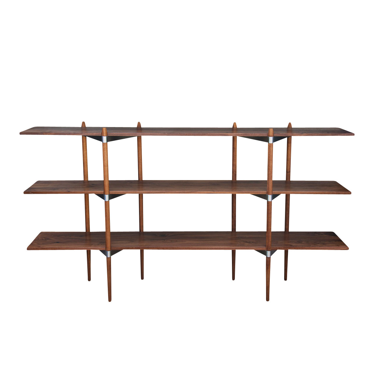 Primo Shelving System: Low + Walnut + Stainless Steel