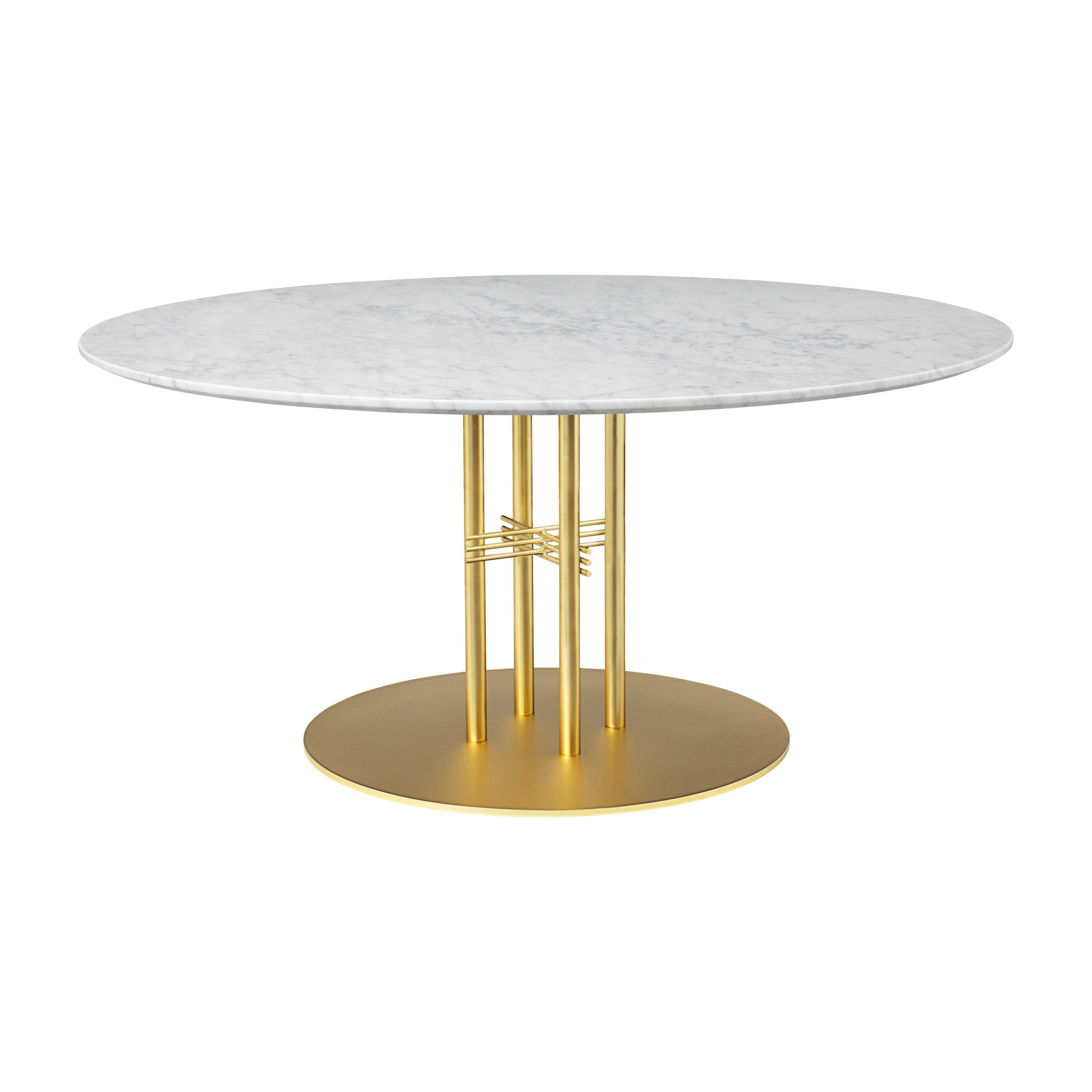TS Column Lounge Table: Large + Brass Base + White Carrara Marble