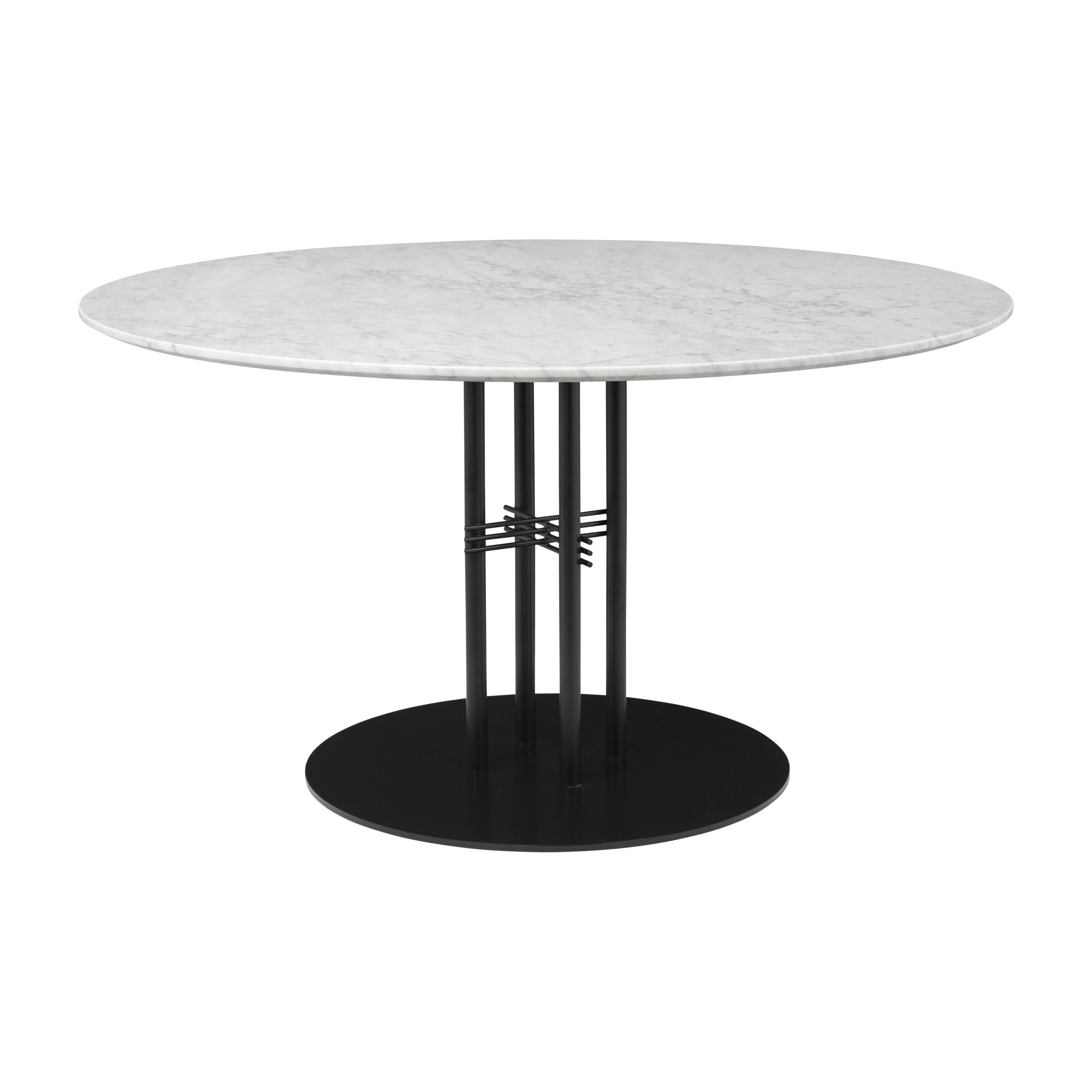 TS Column Dining Table: Large + Black Base + White Carrara Marble