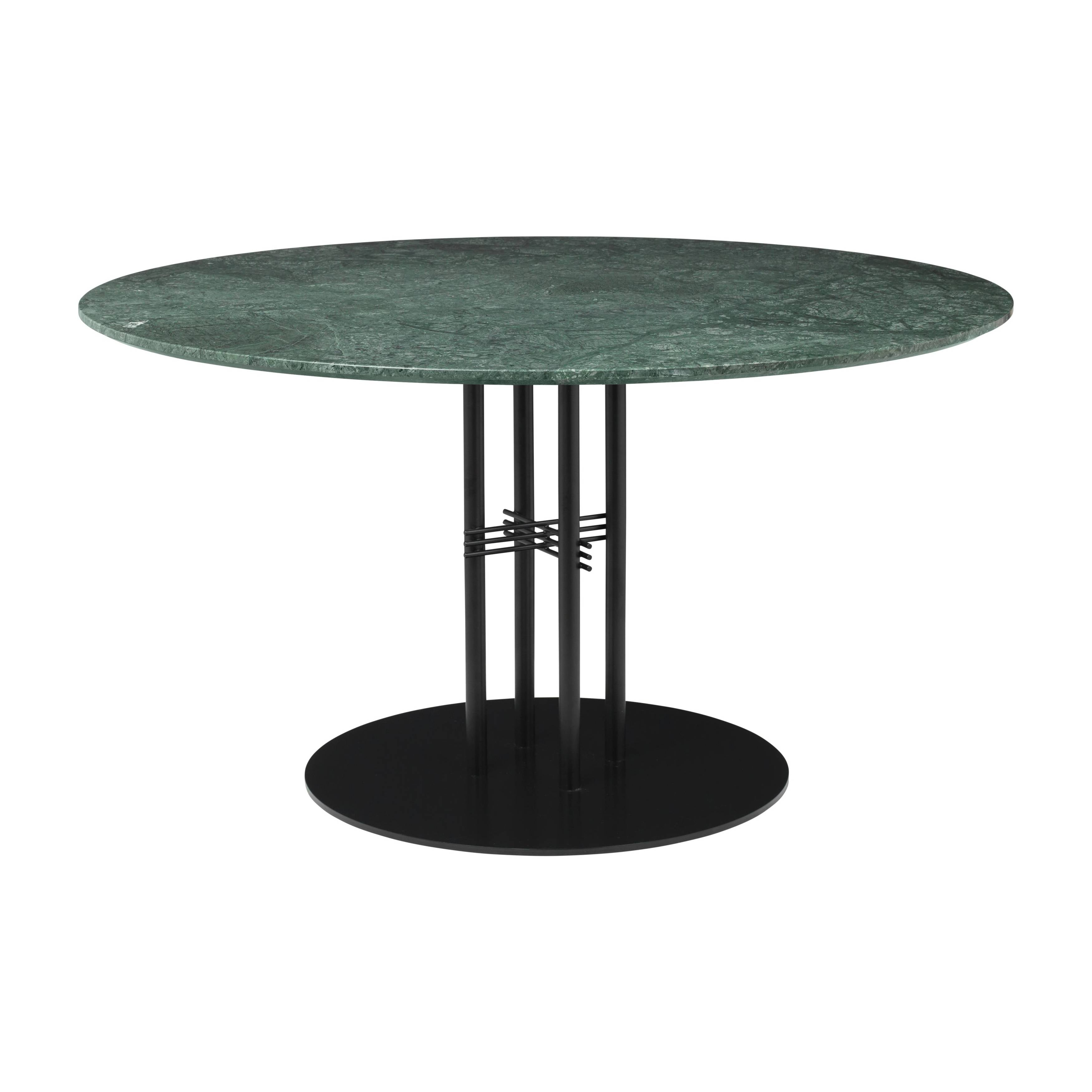TS Column Dining Table: Large + Black Base + Green Gautemala Marble