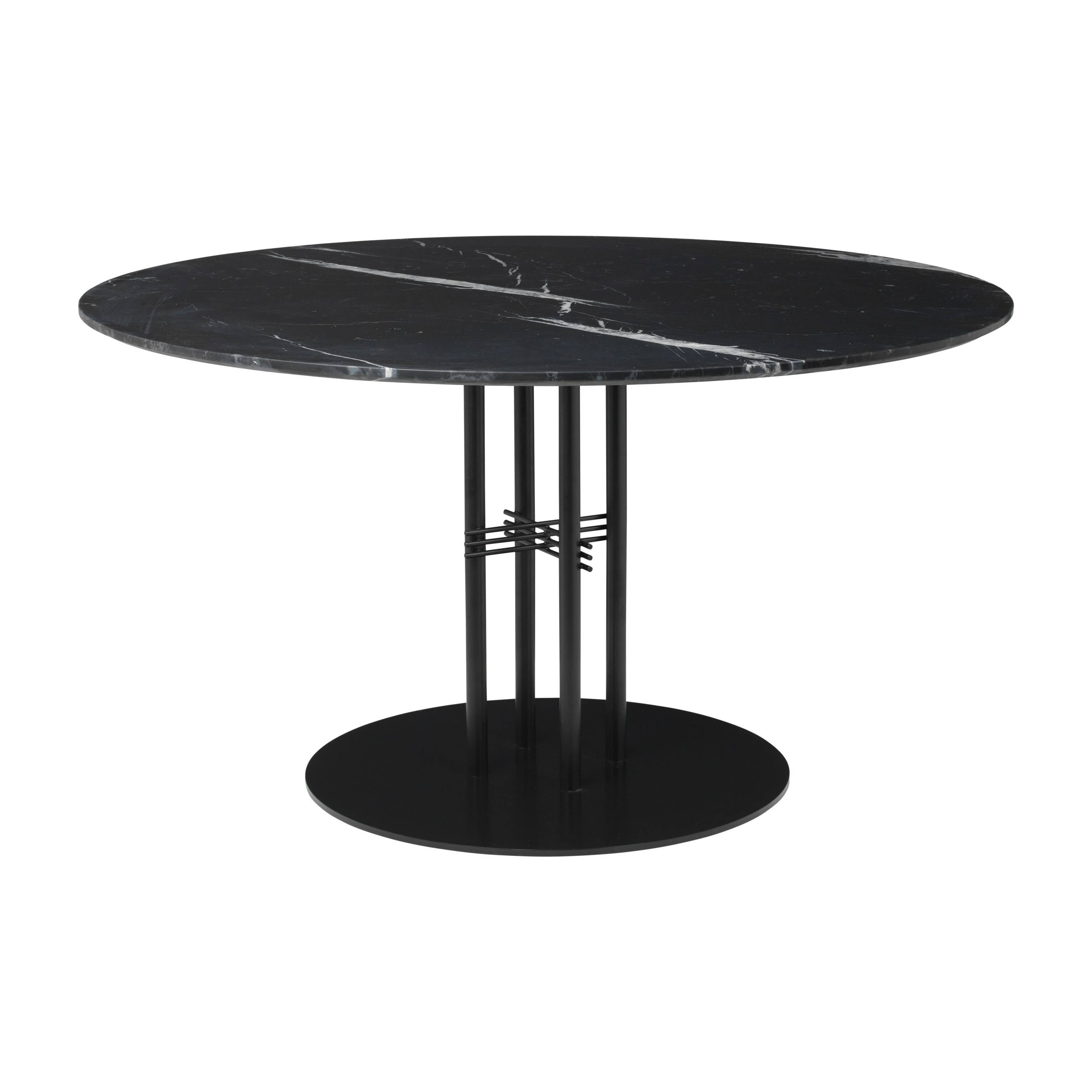 TS Column Dining Table: Large + Black Base + Black Marquina Marble