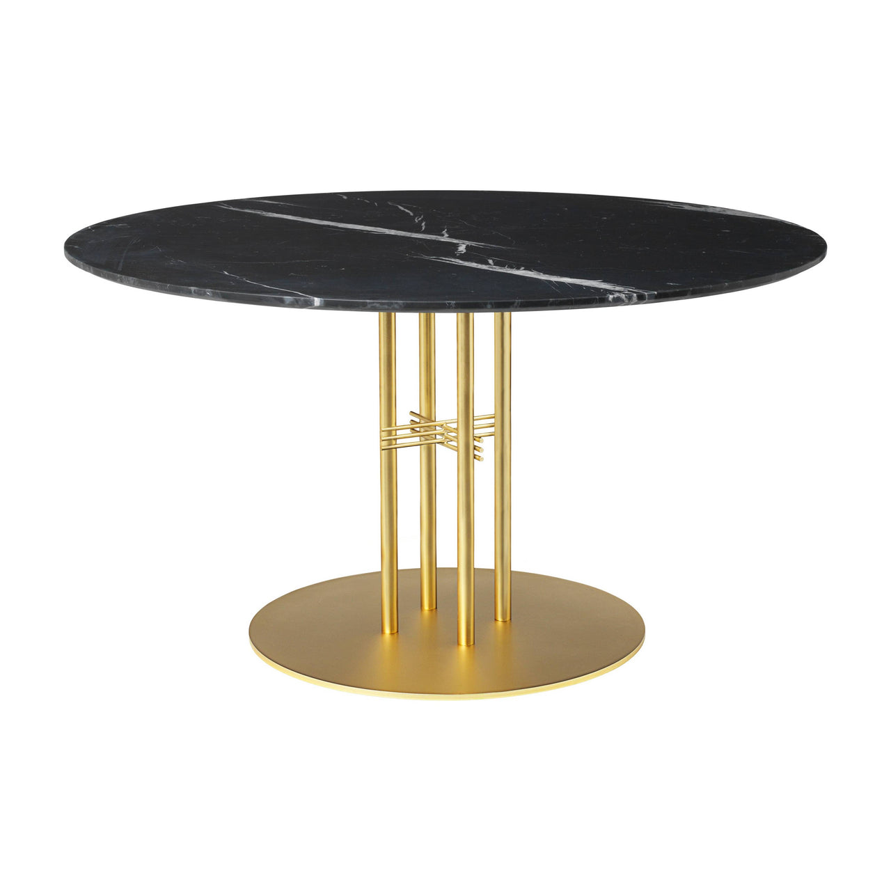 TS Column Dining Table: Large + Brass Base + Black Marquina Marble