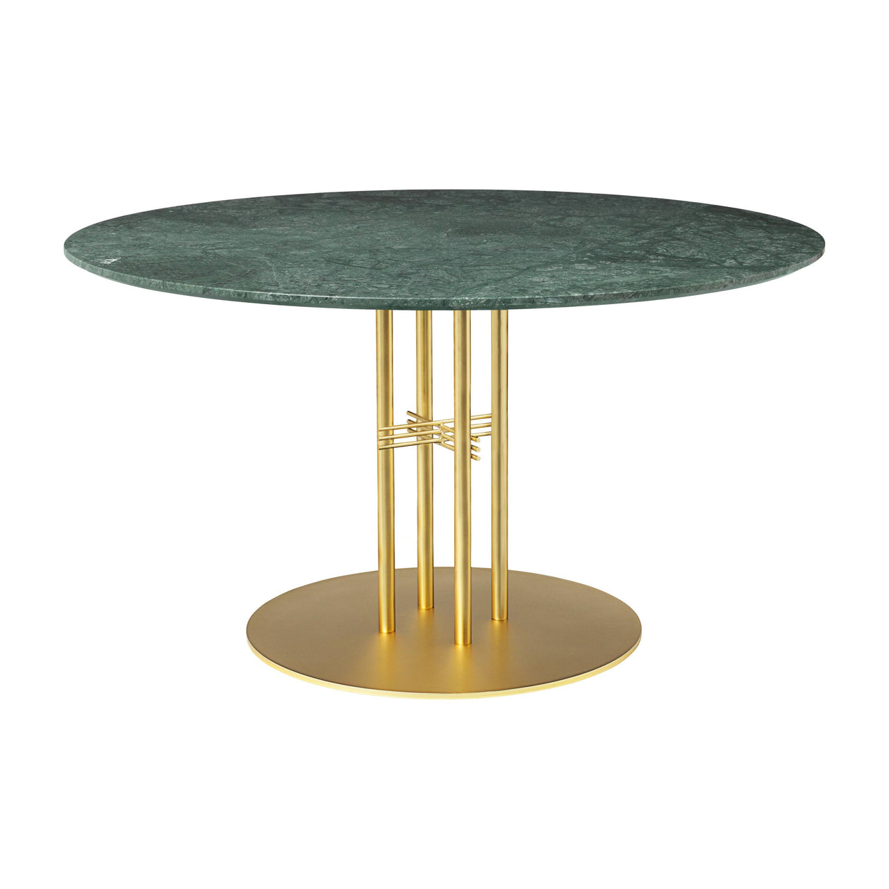 TS Column Dining Table: Large + Brass Base + Green Gautemala Marble