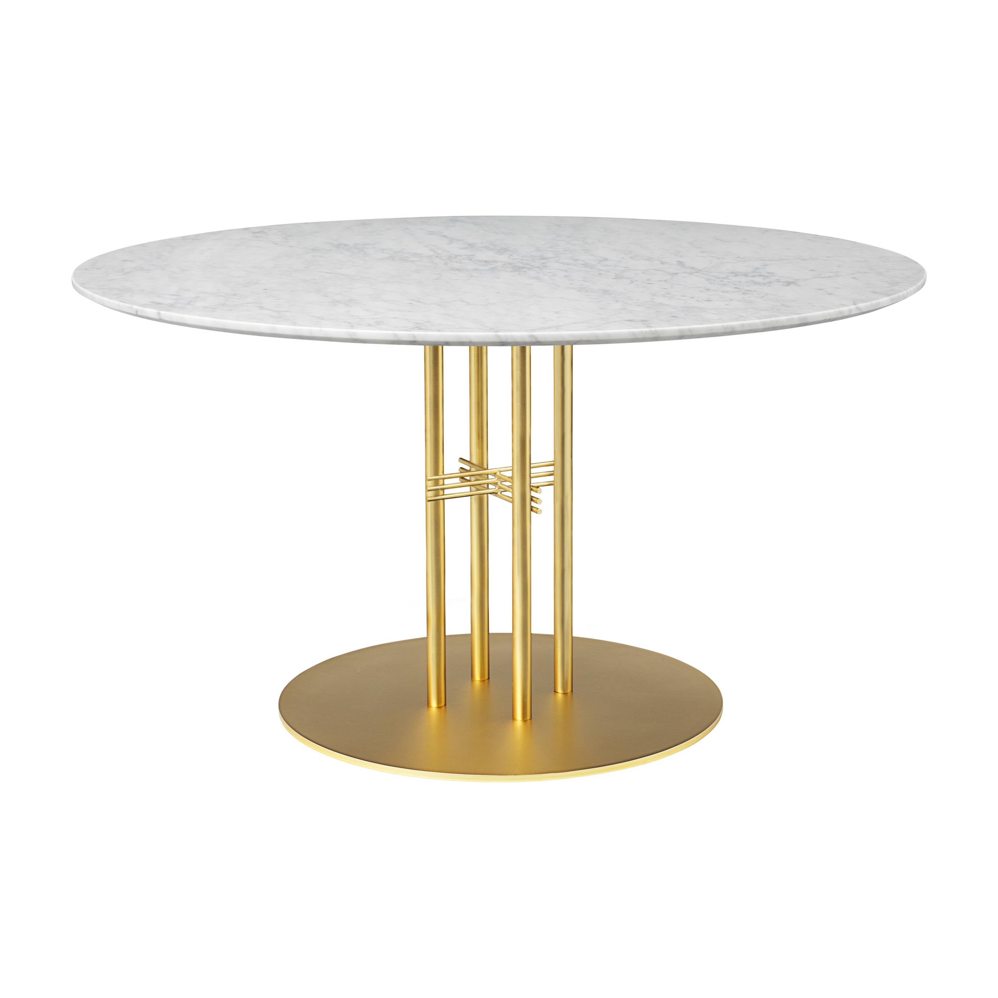 TS Column Dining Table: Large + Brass Base + White Carrara Marble