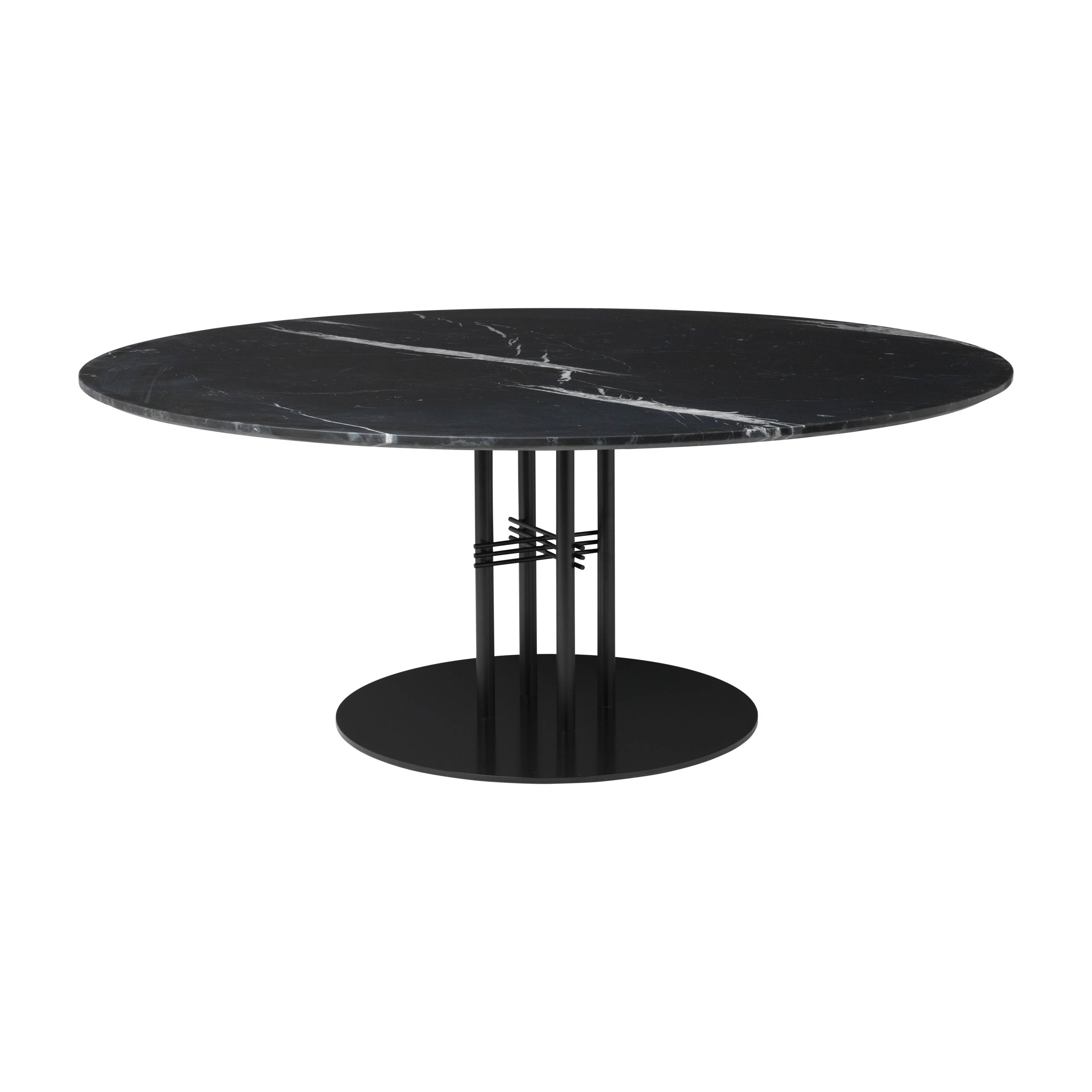 TS Column Lounge Table: Extra Large + Black Base + Black Marquina Marble