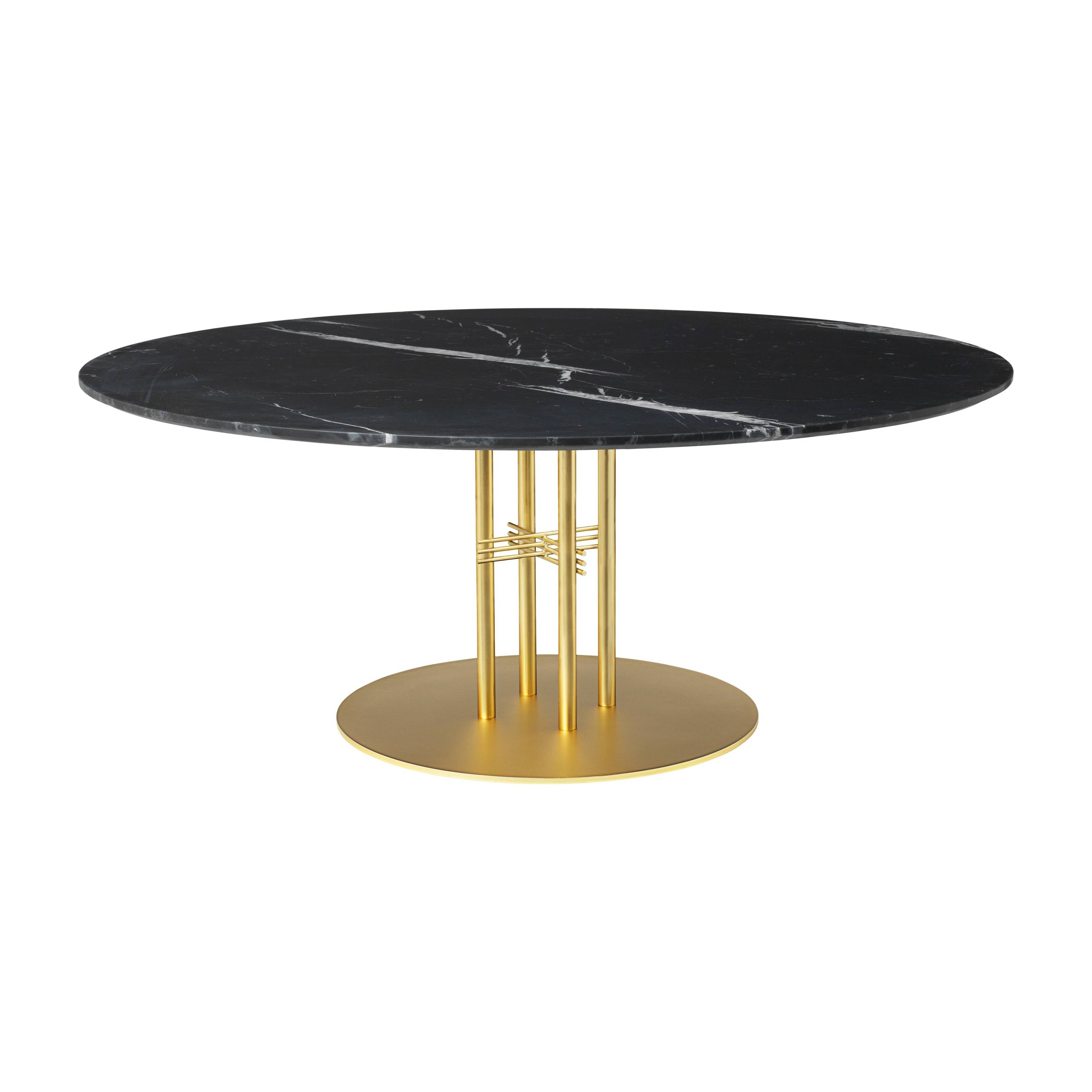 TS Column Lounge Table: Extra Large + Brass Base + Black Marquina Marble