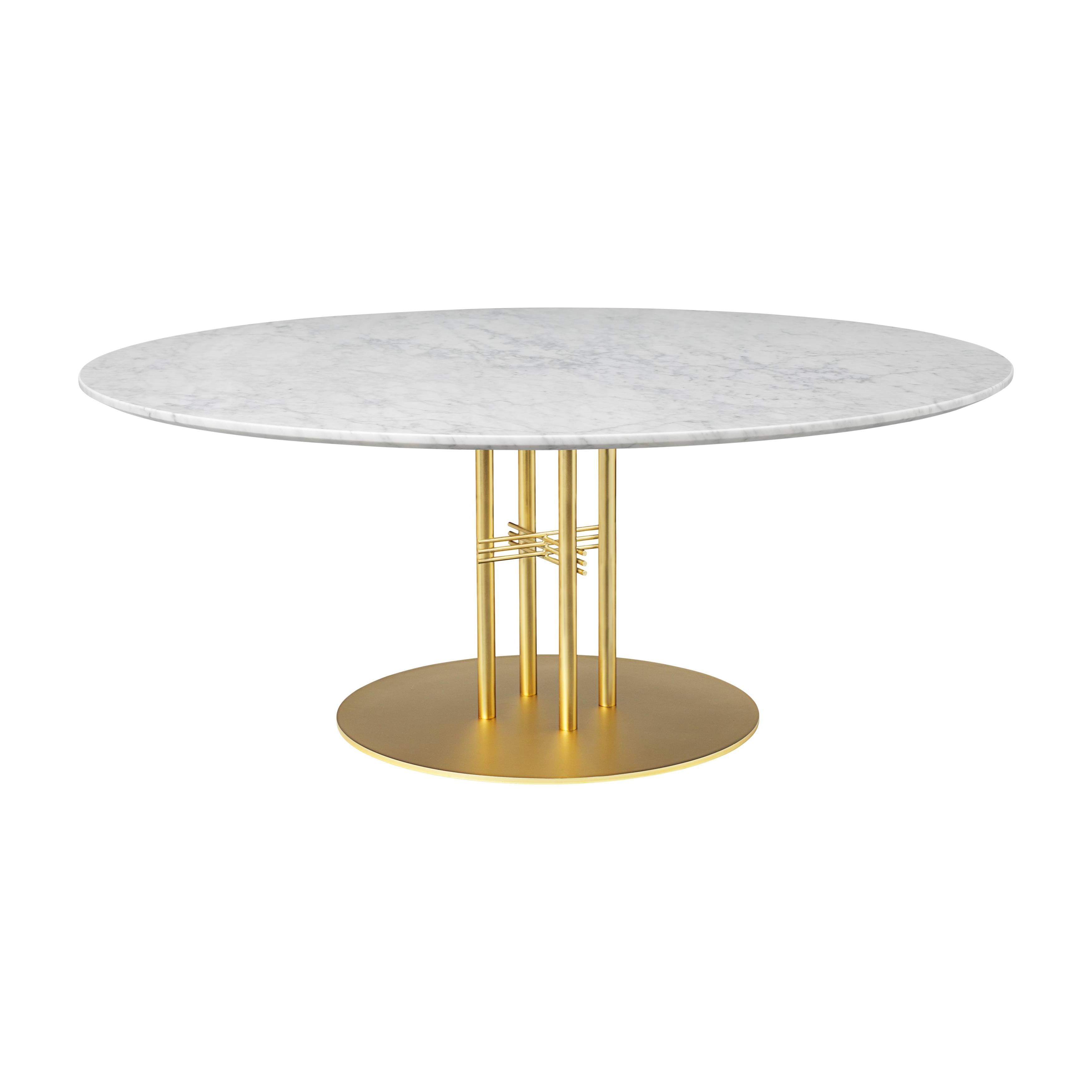 TS Column Lounge Table: Extra Large + Brass Base + White Carrara Marble