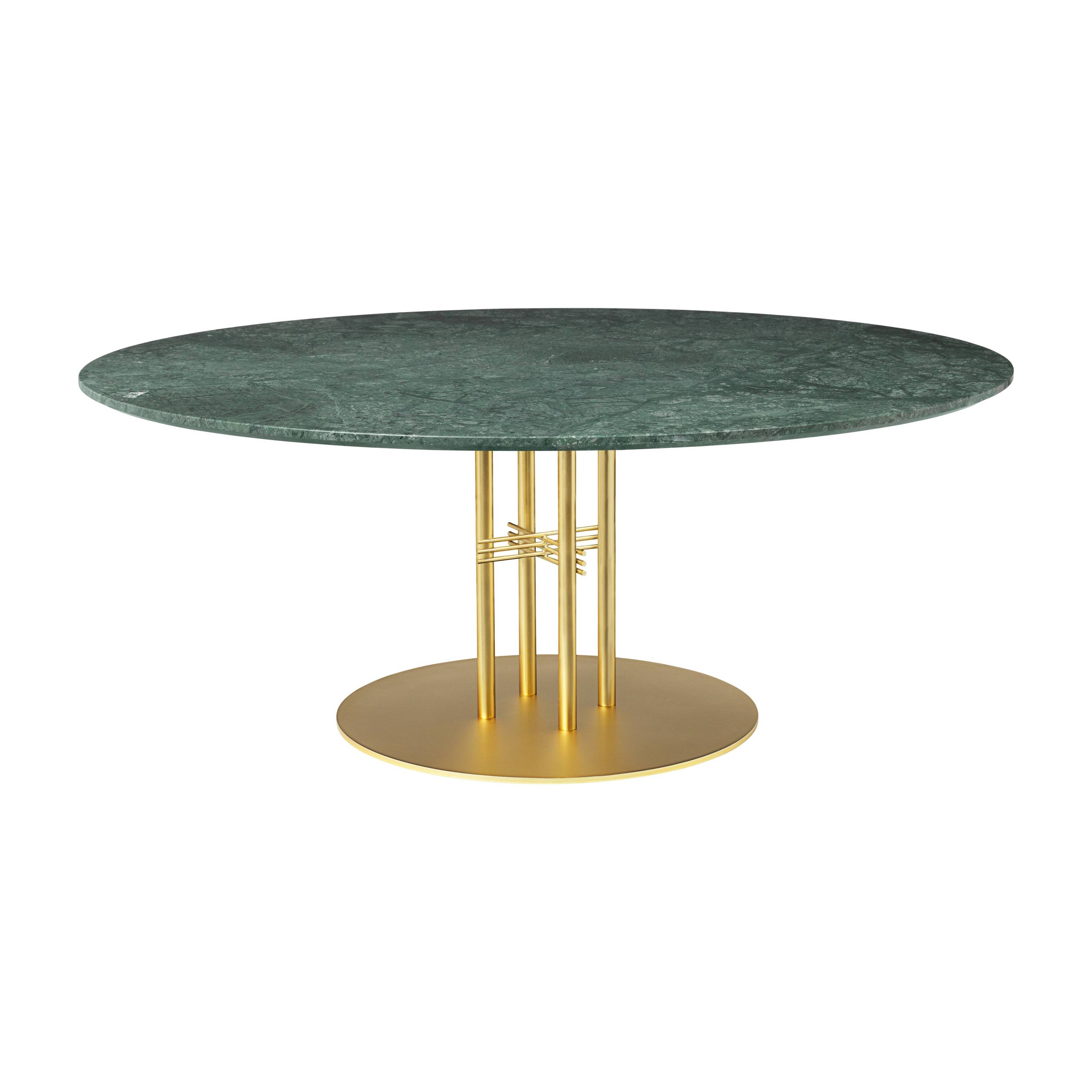 TS Column Lounge Table: Extra Large + Brass Base + Green Gautemala Marble