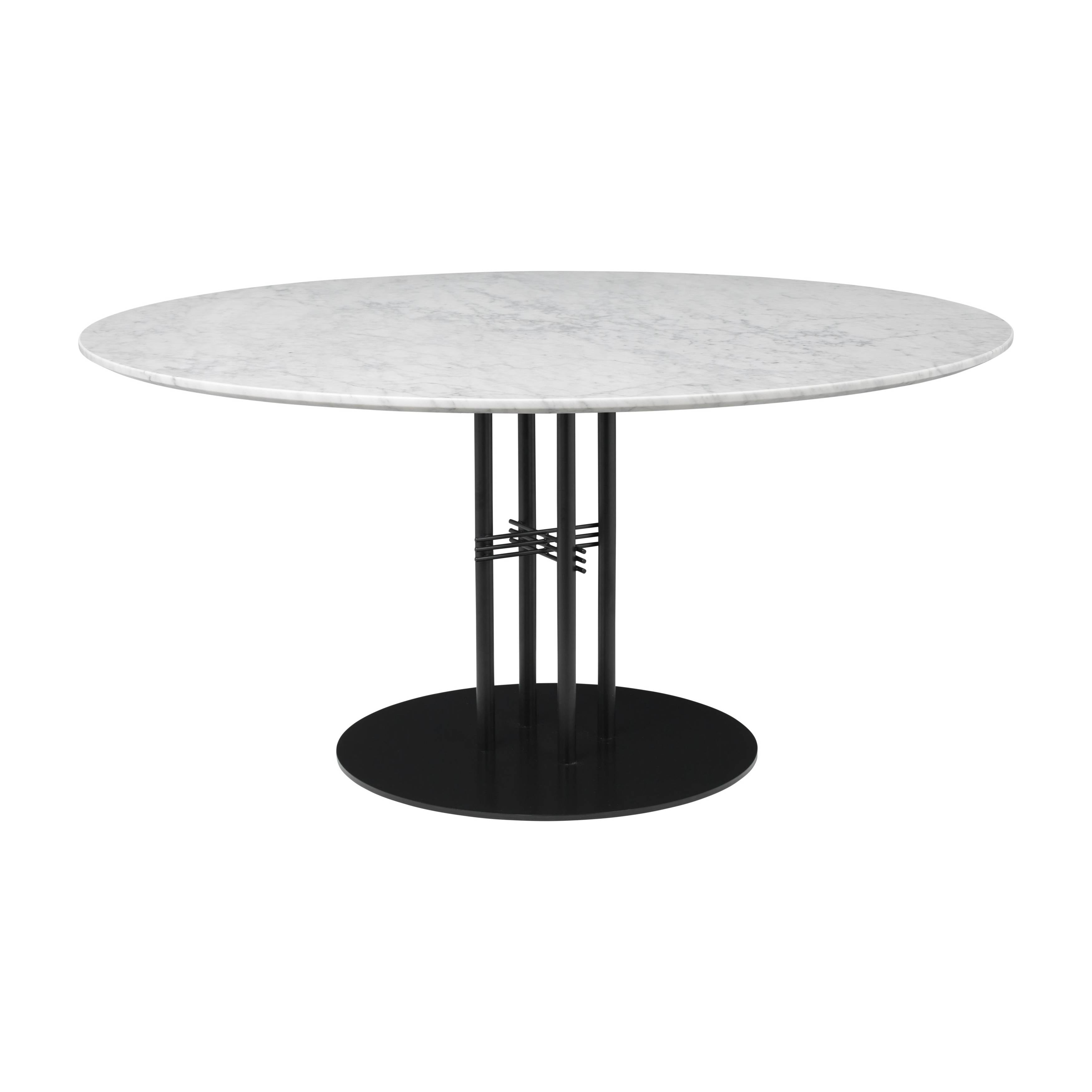 TS Column Dining Table: Extra Large + Black Base + White Carrara Marble