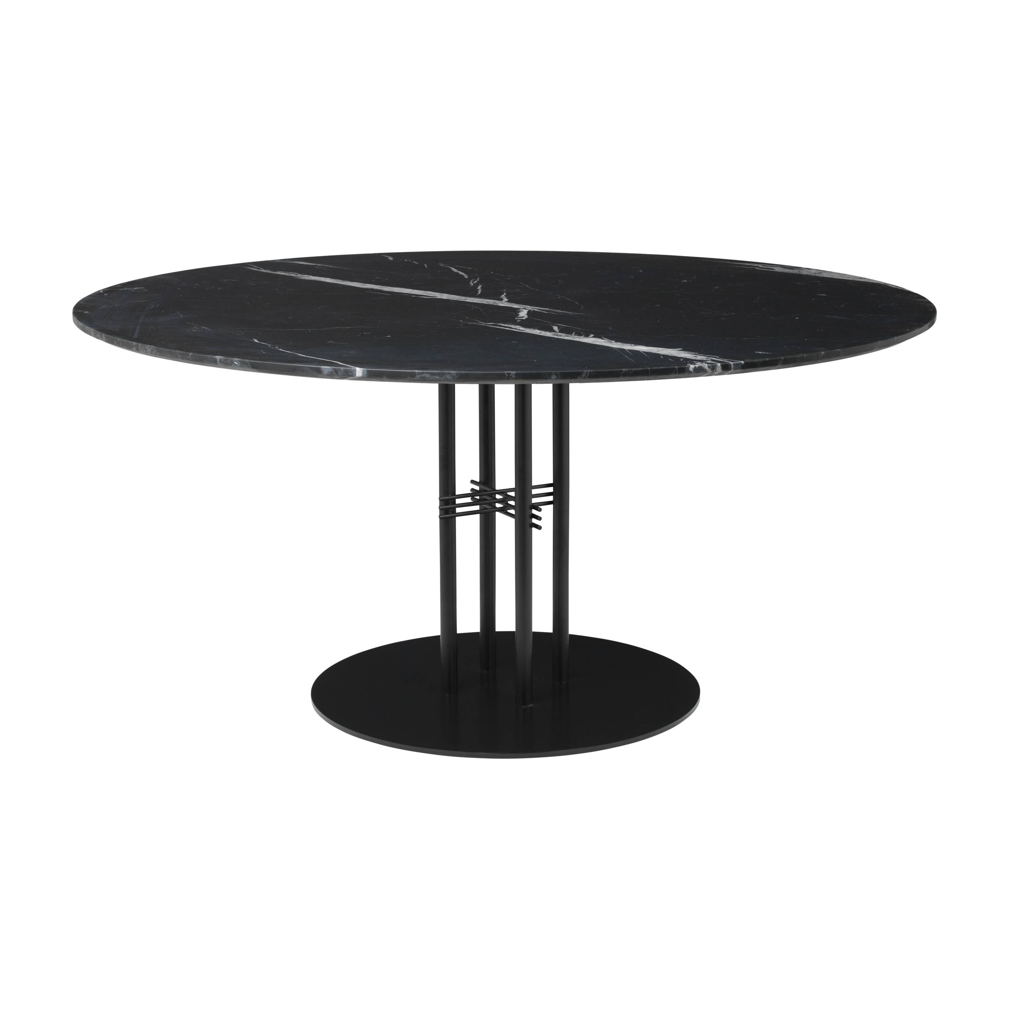 TS Column Dining Table: Extra Large + Black Base + Black Marquina Marble