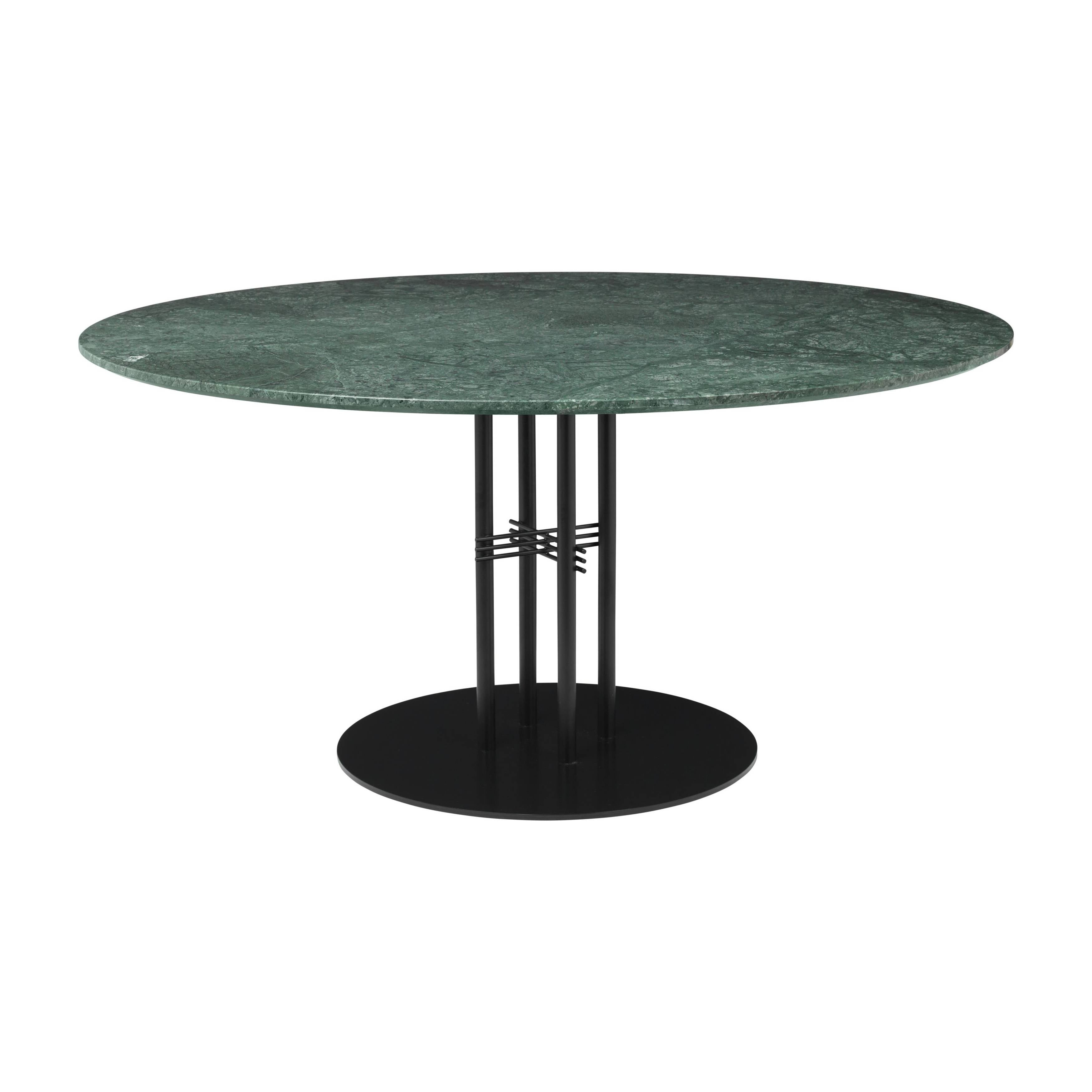TS Column Dining Table: Extra Large + Black Base + Green Gautemala Marble