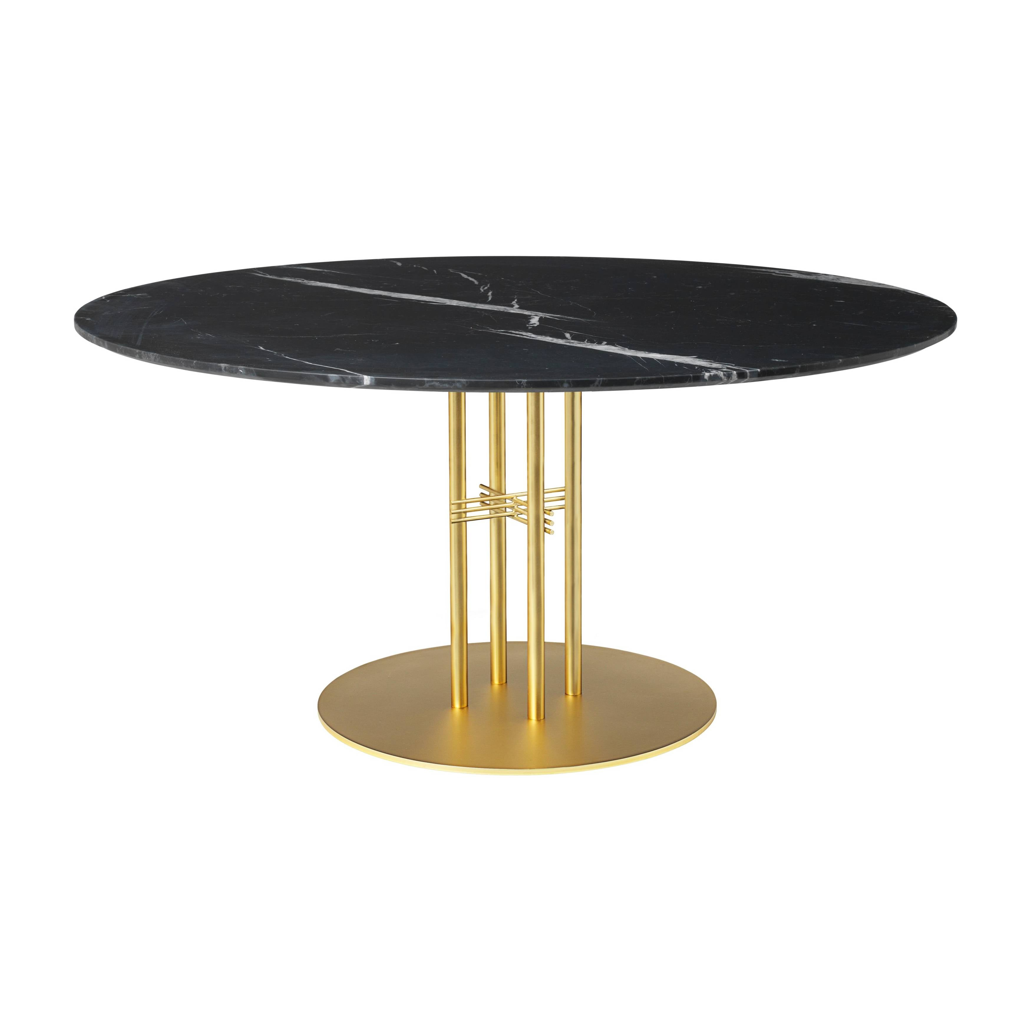 TS Column Dining Table: Extra Large + Brass Base + Black Marquina Marble