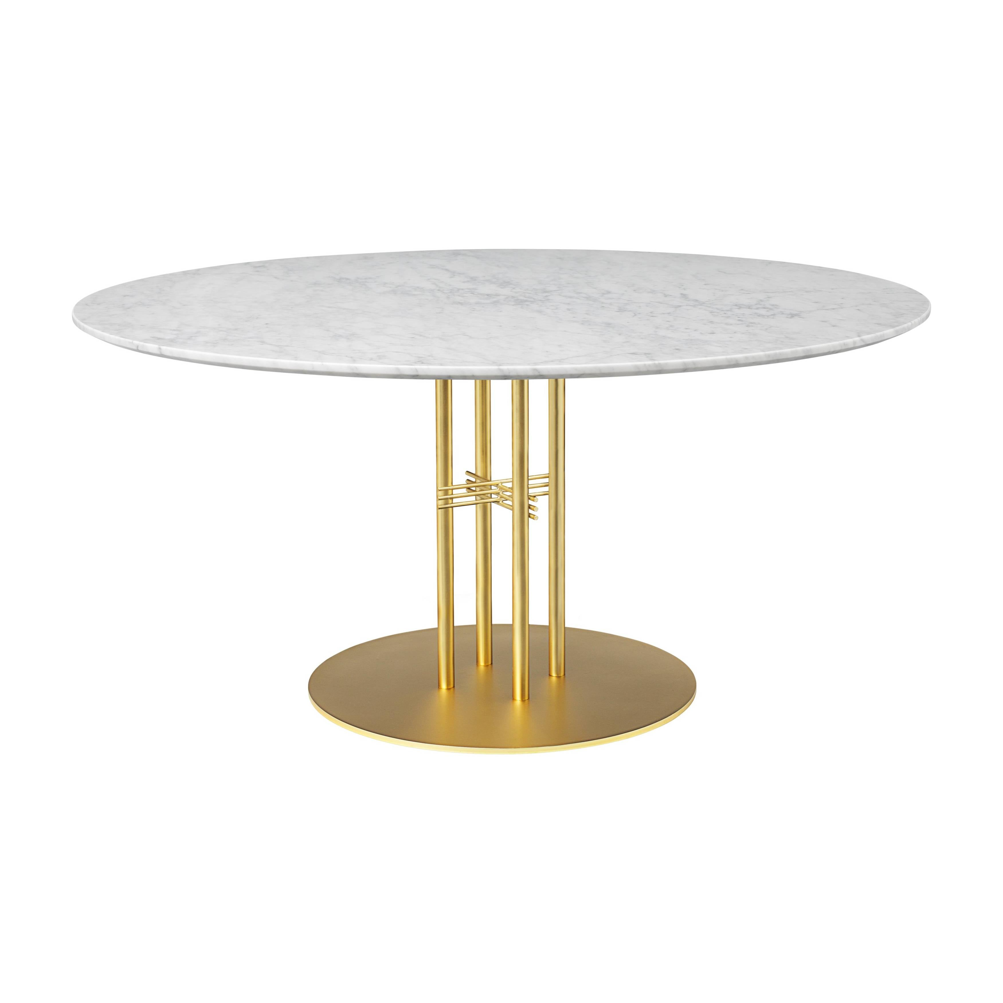 TS Column Dining Table: Extra Large + Brass Base +White Carrara Marble