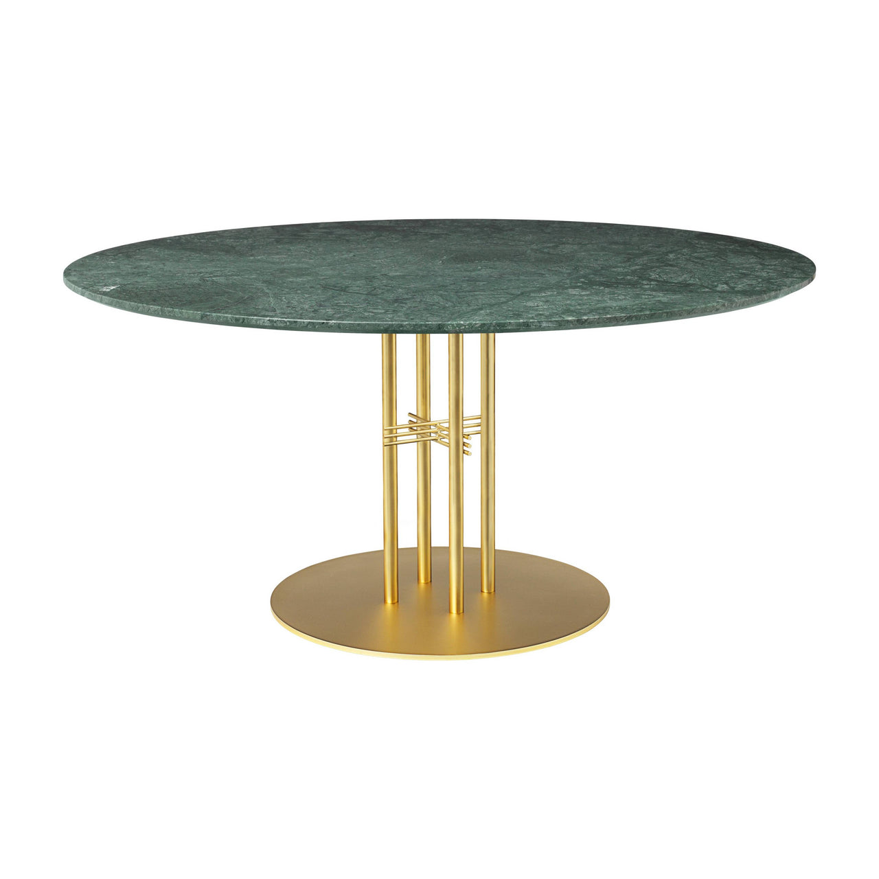 TS Column Dining Table: Extra Large + Brass Base + Green Gautemala Marble