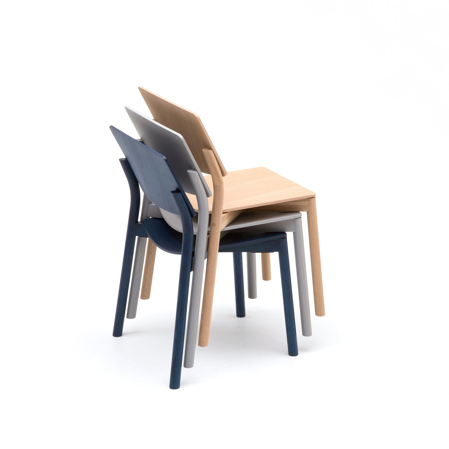 Panorama Chair: Pure Oak + Grain Grey Oak + Indigo Blue