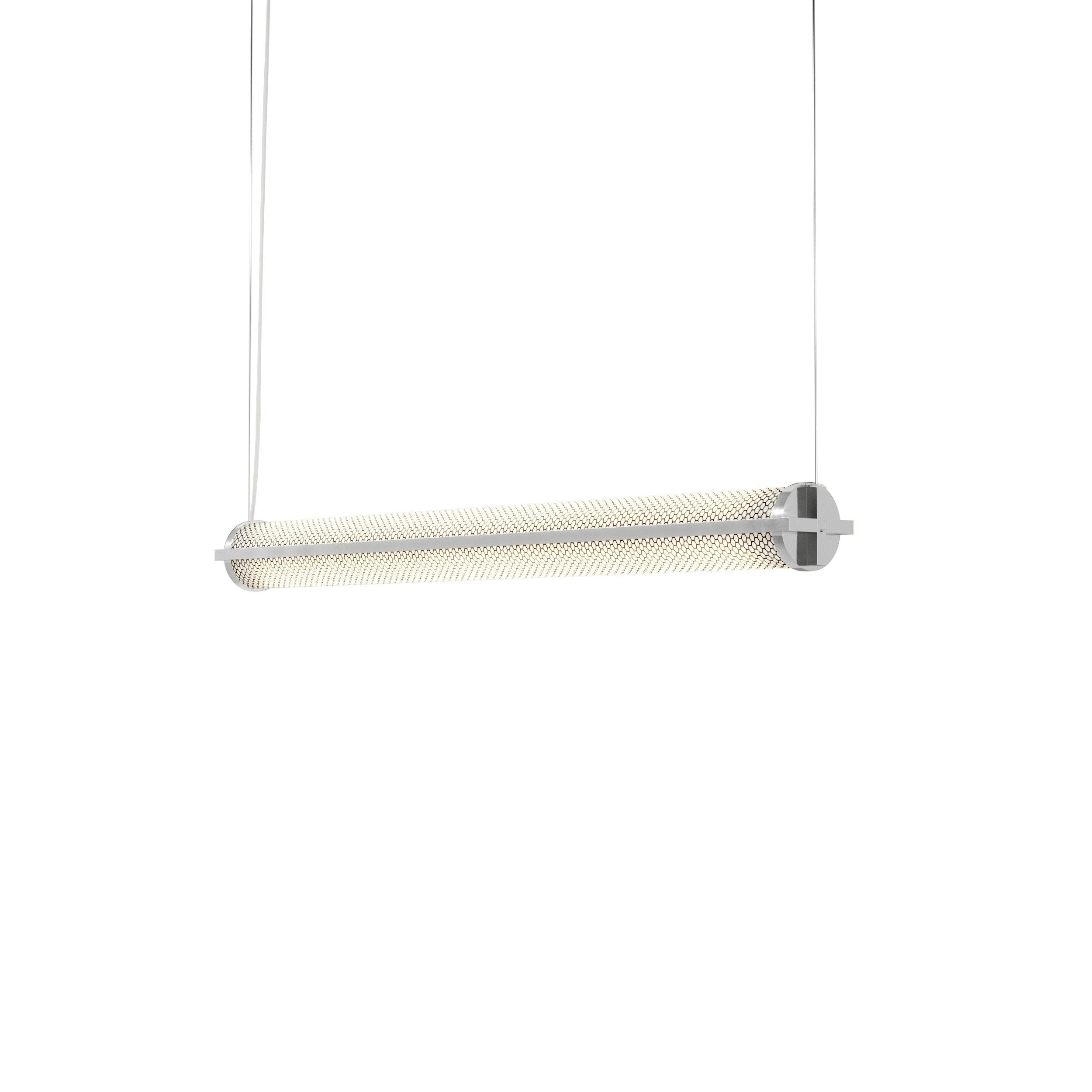Metropolis Linear Suspension Light: Small + Polished Aluminum + Mesh Diffuser
