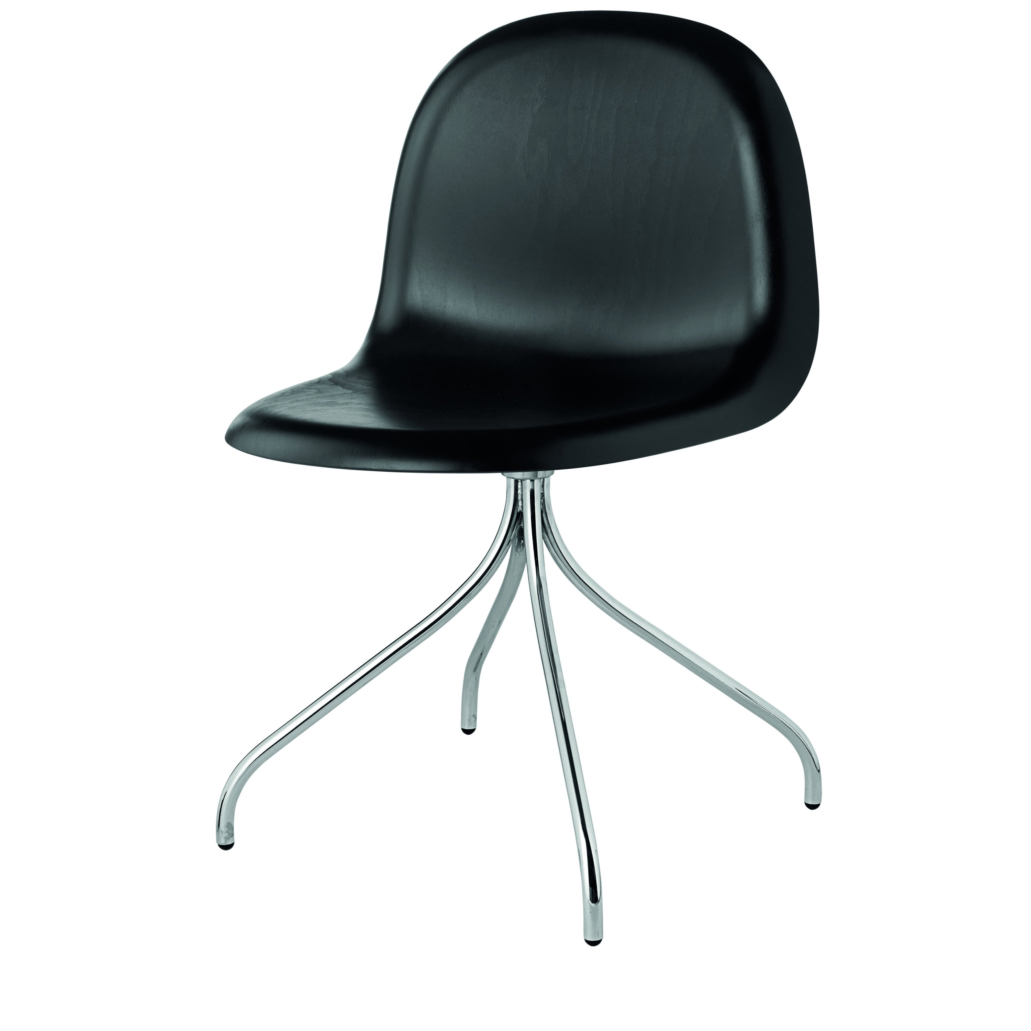 3D Meeting Chair: Swivel Base: Black Stained Beech Shell + Chrome Base