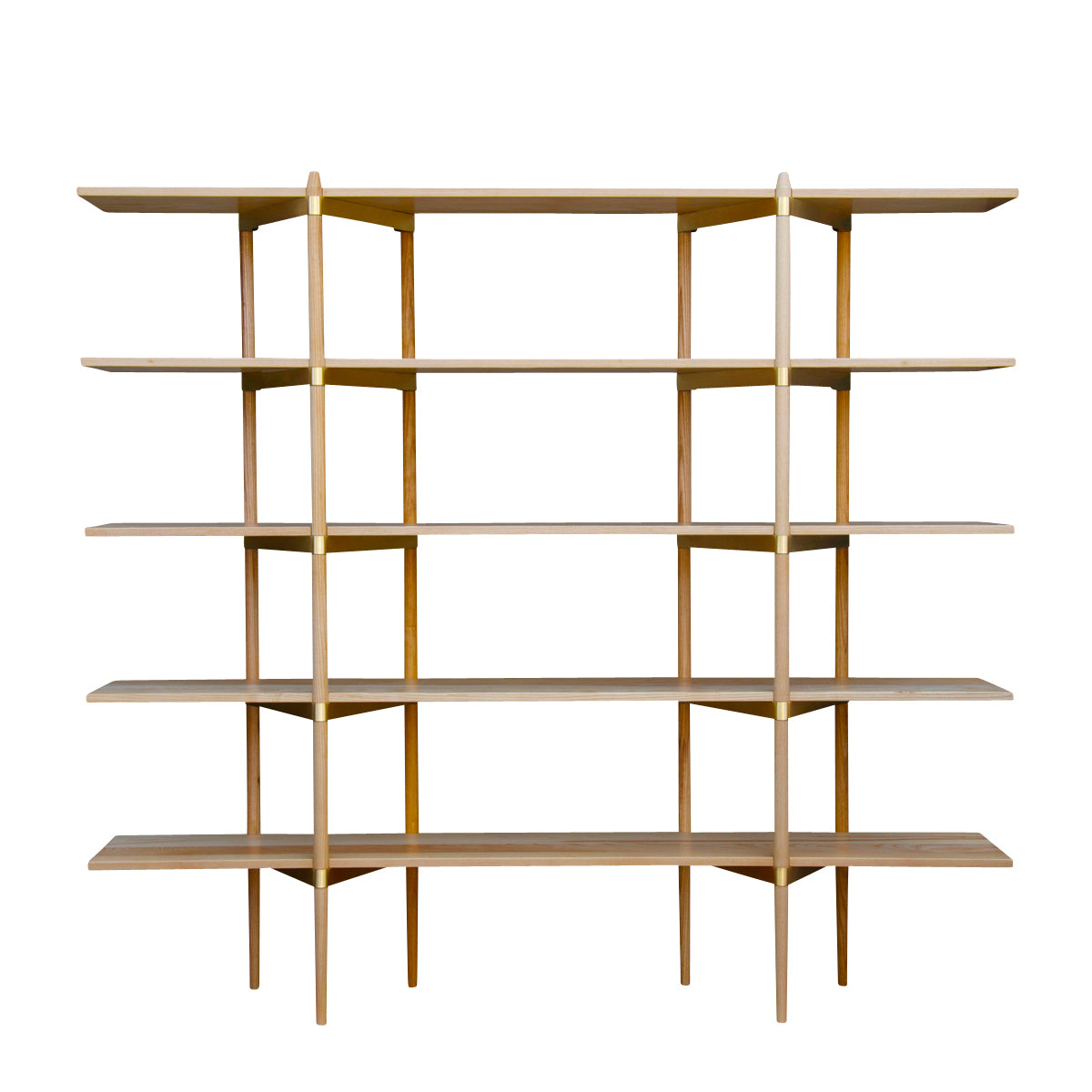 Primo Shelving System: High + Ash + Brass