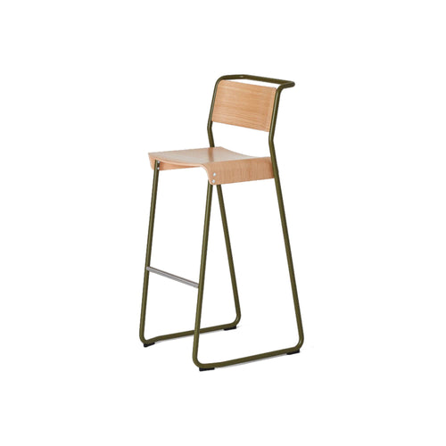 Canteen Utility High Stool: Light Oak + Khaki Green