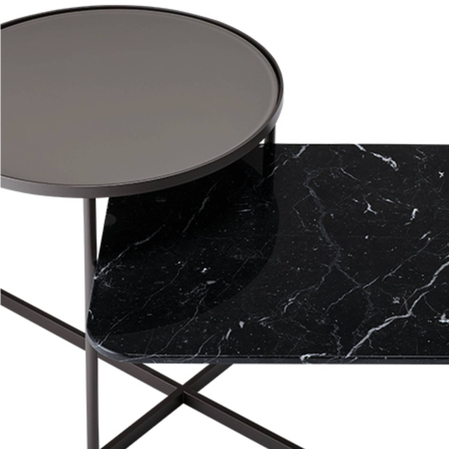 Mohana Side Table Medium: Pewter Frame + Grey Etched Glass + Black Marble