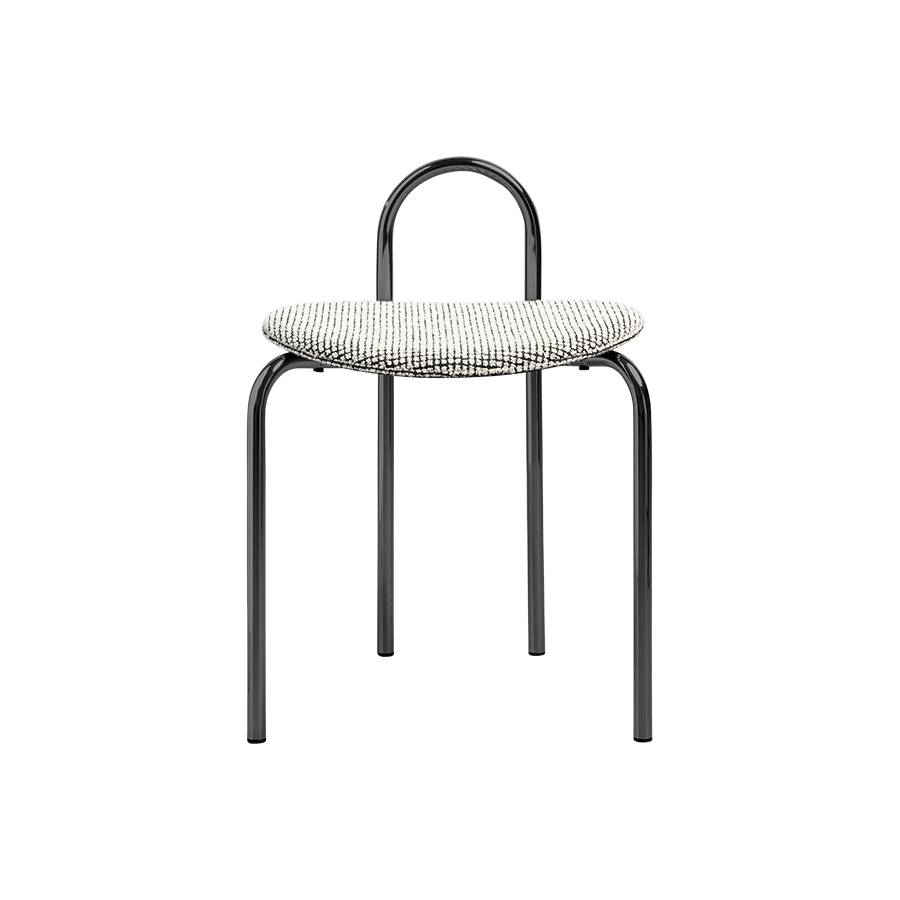 Michelle Low Stool: Upholstered + Black Chrome