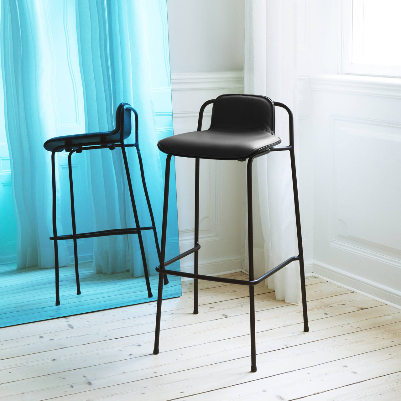 Studio Bar + Counter Stool: Front Upholstered