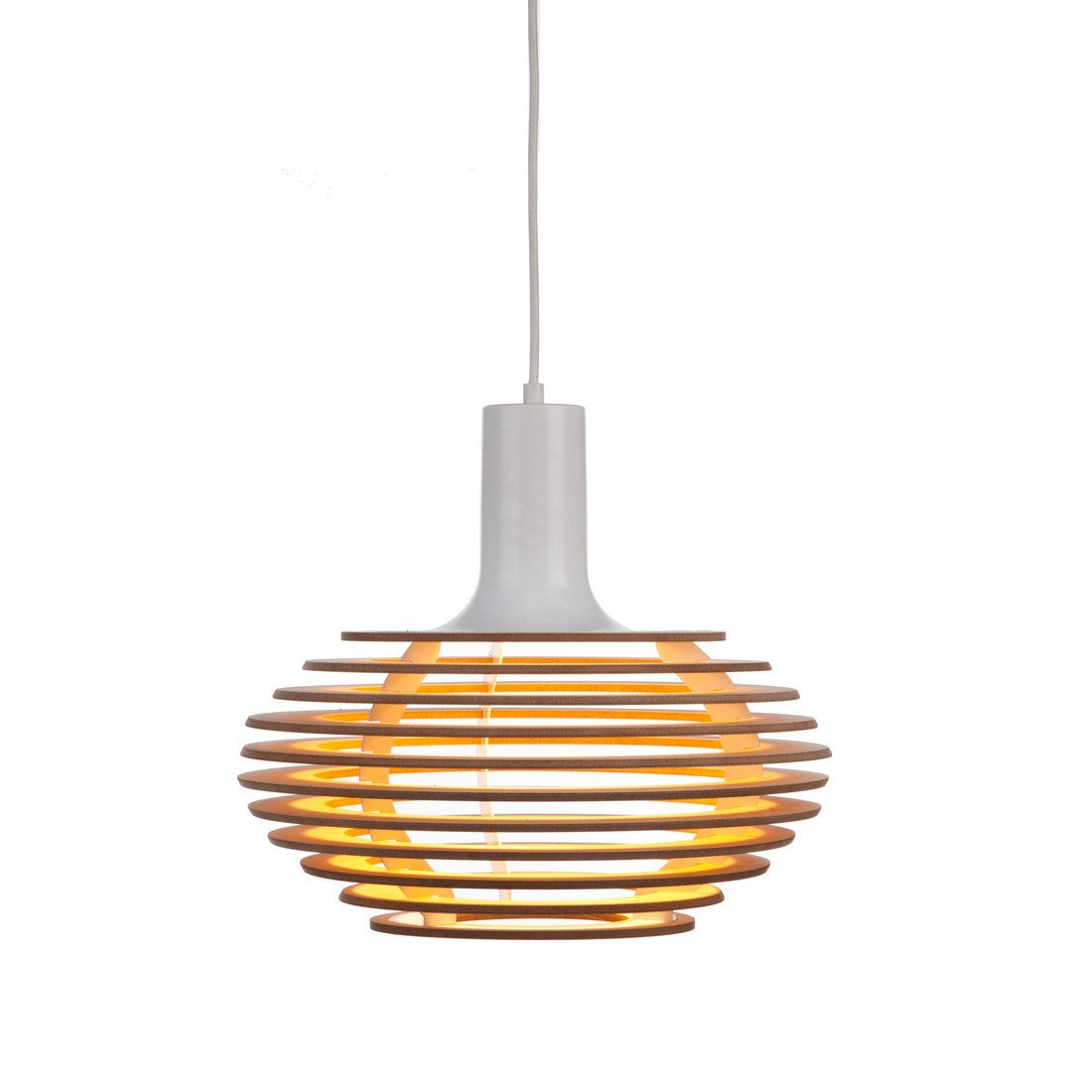 Dipper Pendant Light: Small + Oak + White