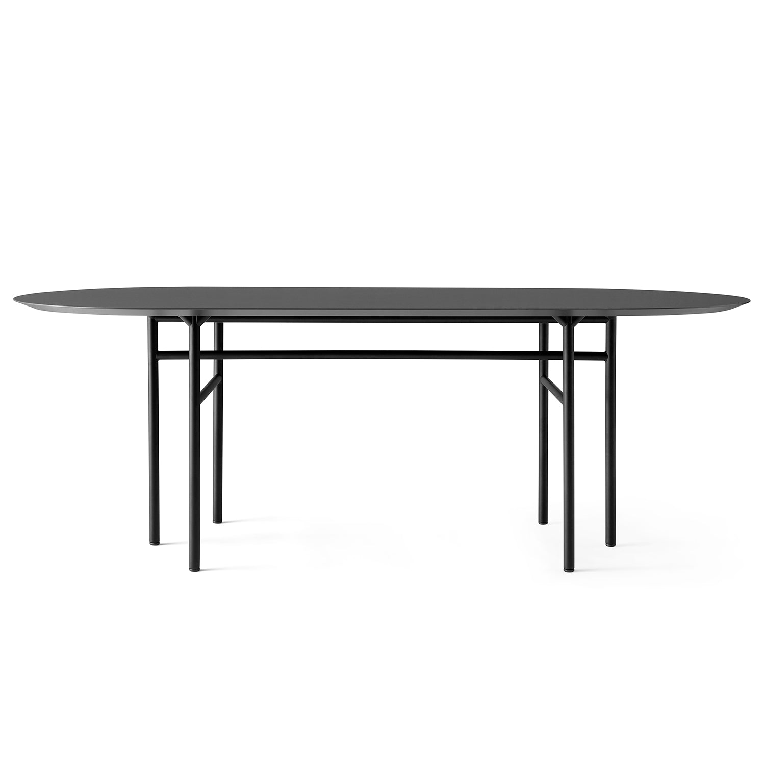 Snaregade Oval Table: Black + Black Oak Veneer