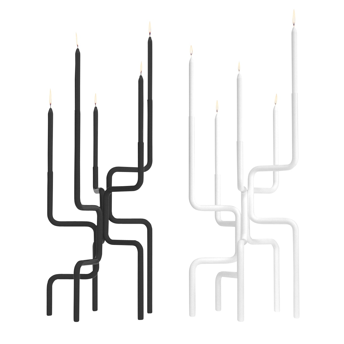 Walk of Flames Candelabra (Oversized): Dark Grey + White