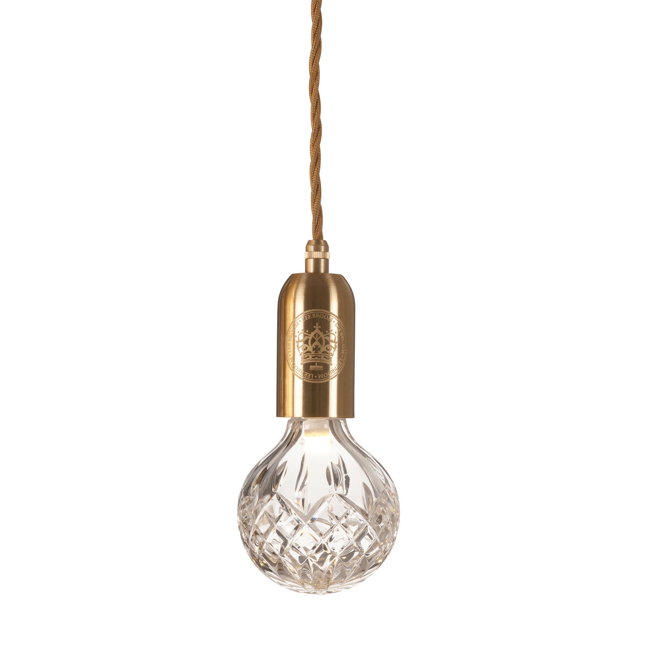 Crystal Bulb + Pendant: Bulb + Brushed Brass Fitting + Clear Crystal