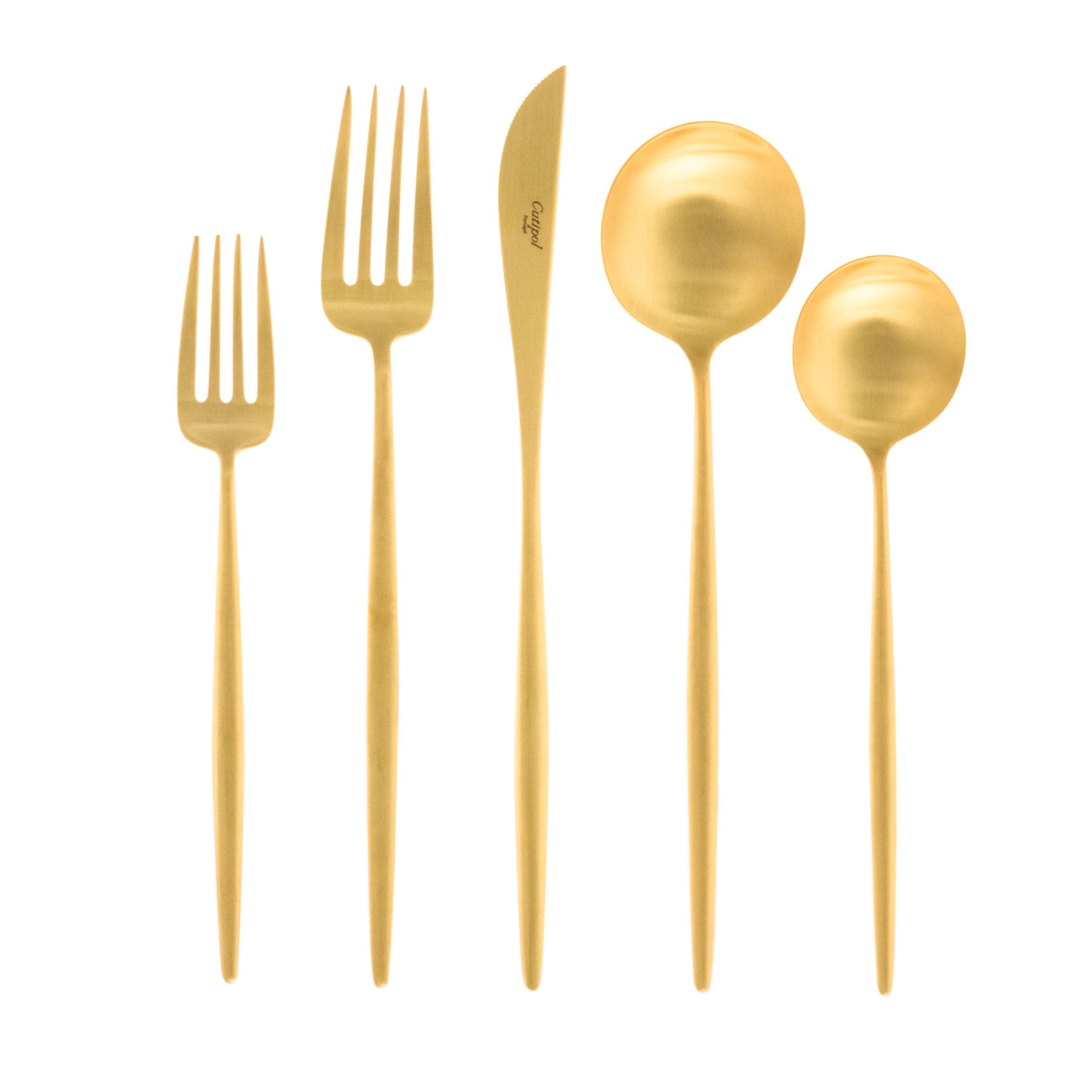 Moon Flatware: Brushed Gold: Single 5-pc Set