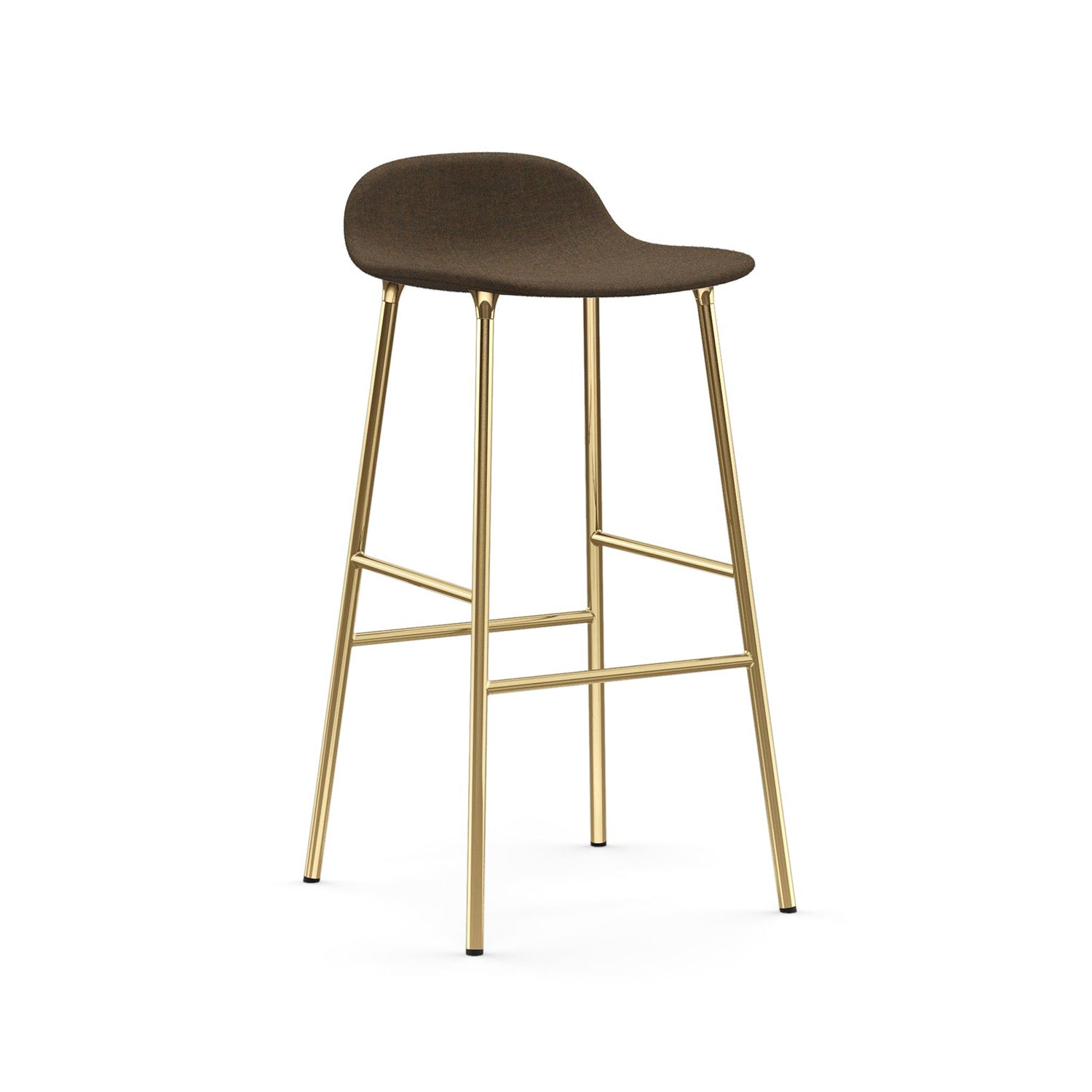 Form Bar + Counter Stool: Brass Upholstered