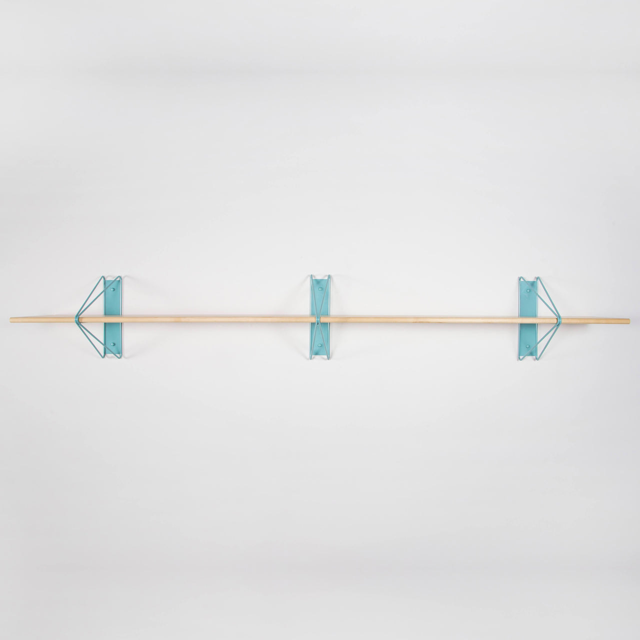 Strut Shelf + Shelving System: Light Blue + Natural Maple
