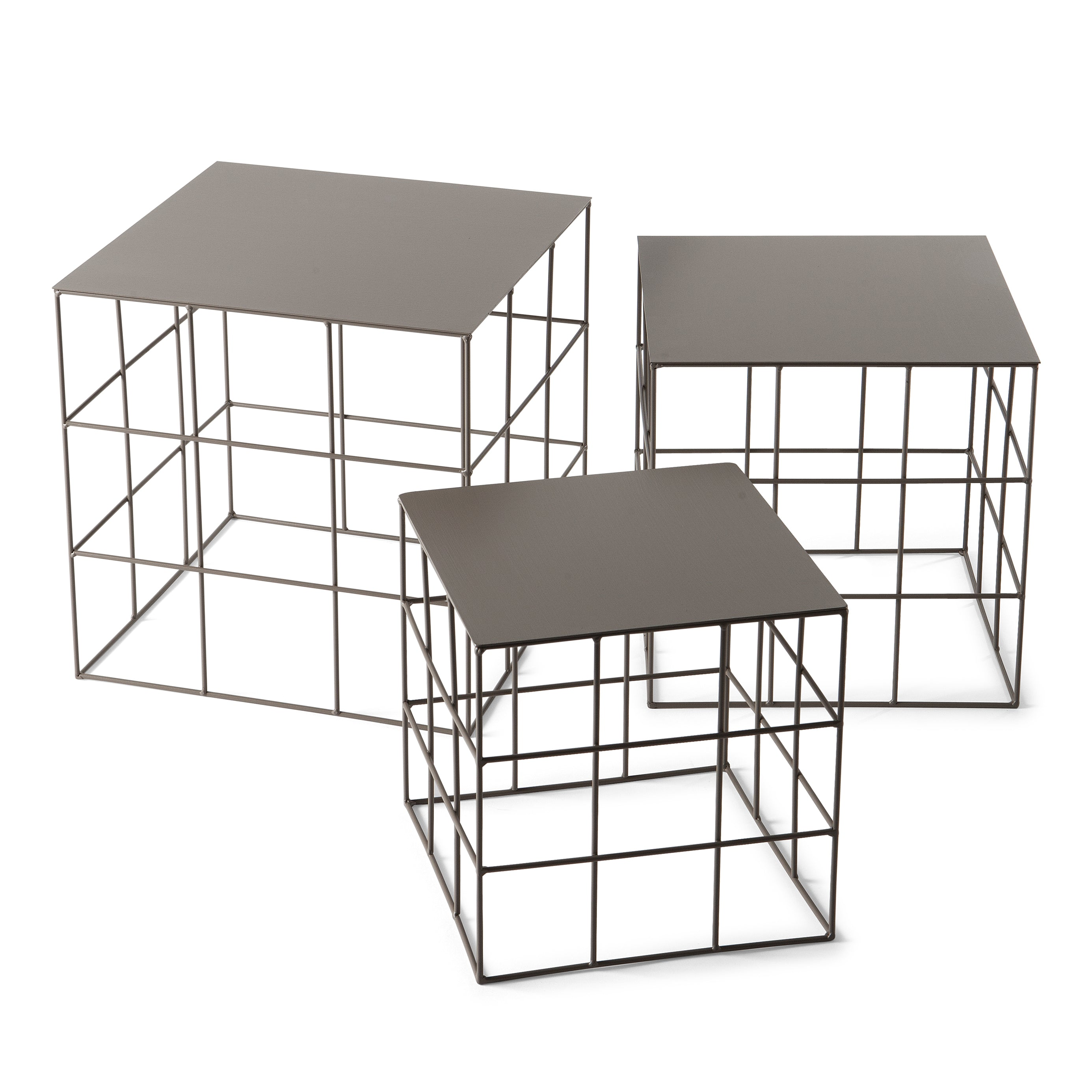 Reton Square Side Table Set: Beige Grey
