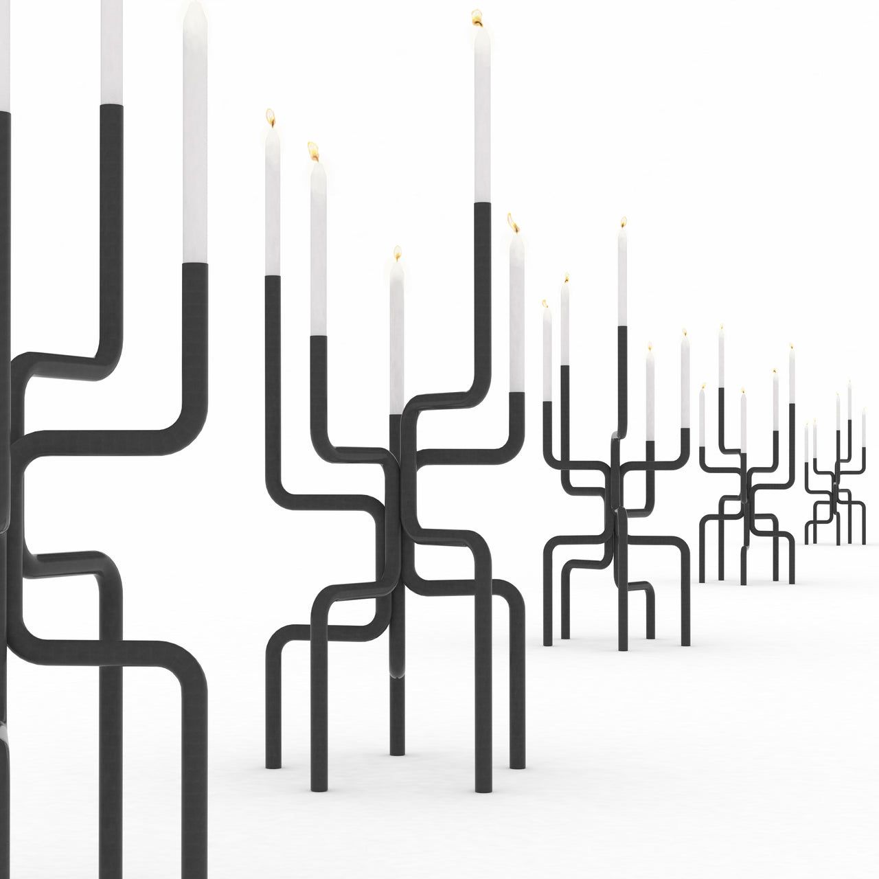 Walk of Flames Candelabra (Oversized): Dark Grey