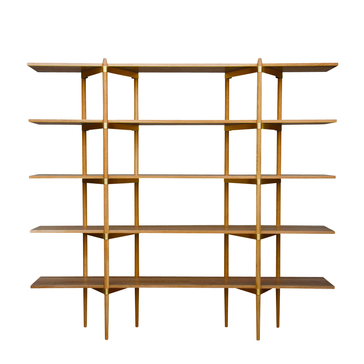 Primo Shelving System: High + Oak + Brass