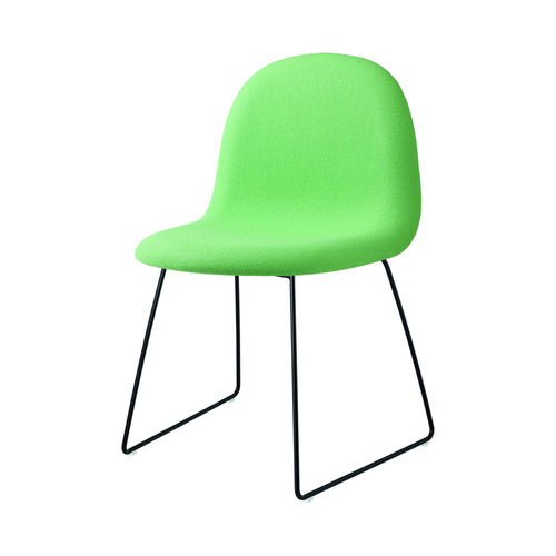 3D Dining Chair: Sledge Base + Full Upholstery: Black Semi-Matte Base